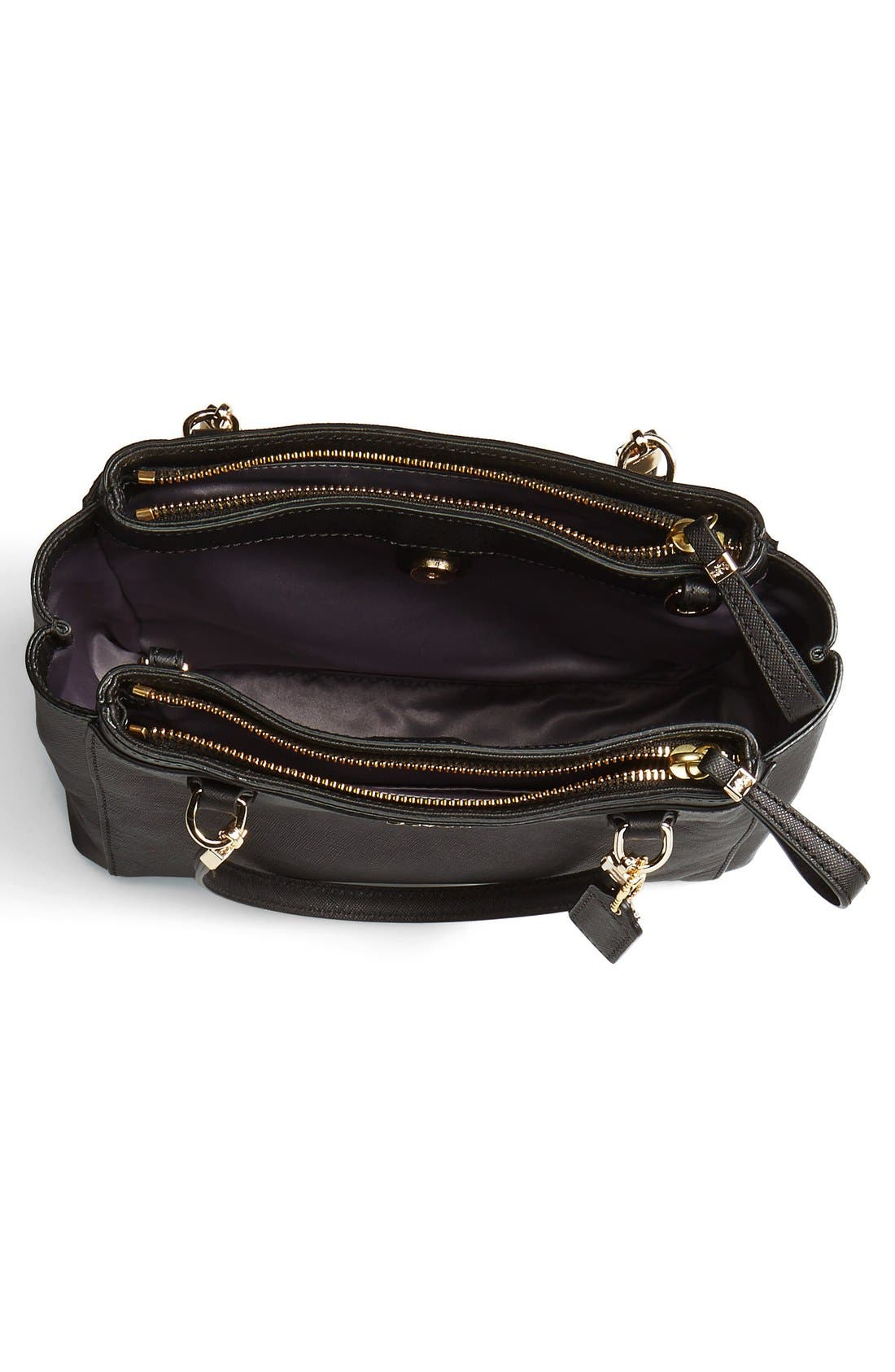 COACH, 'Madison - Mini Christie' Saffiano Leather Satchel, Alternate thumbnail 3, color, 001