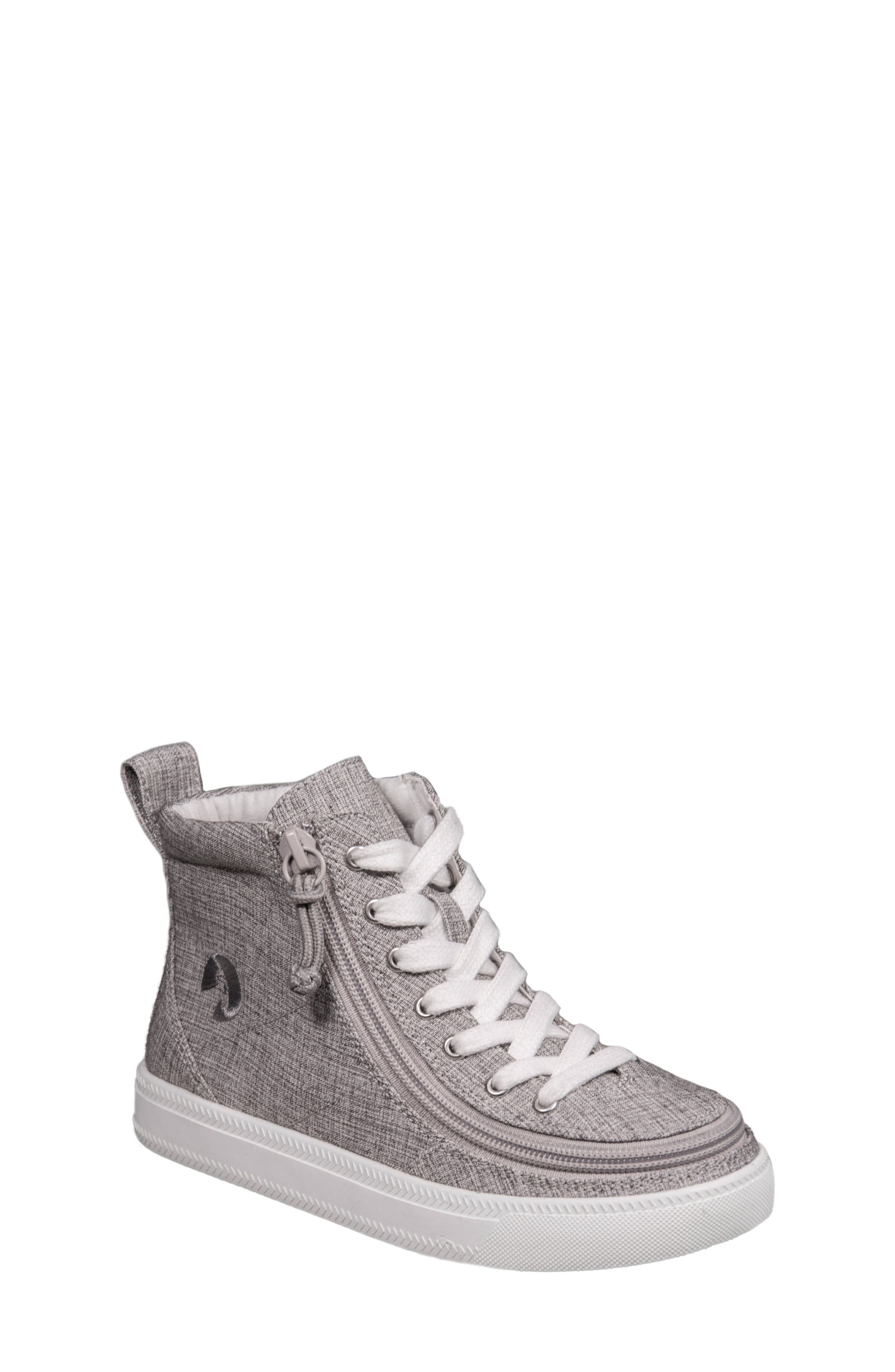 BILLY FOOTWEAR, Zip Around High Top Sneaker, Main thumbnail 1, color, GREY JERSEY