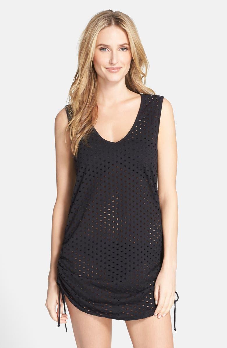 0b35fb6212 ECO SWIM Side Shirred Mesh Cover-Up Dress, Main, color, 001