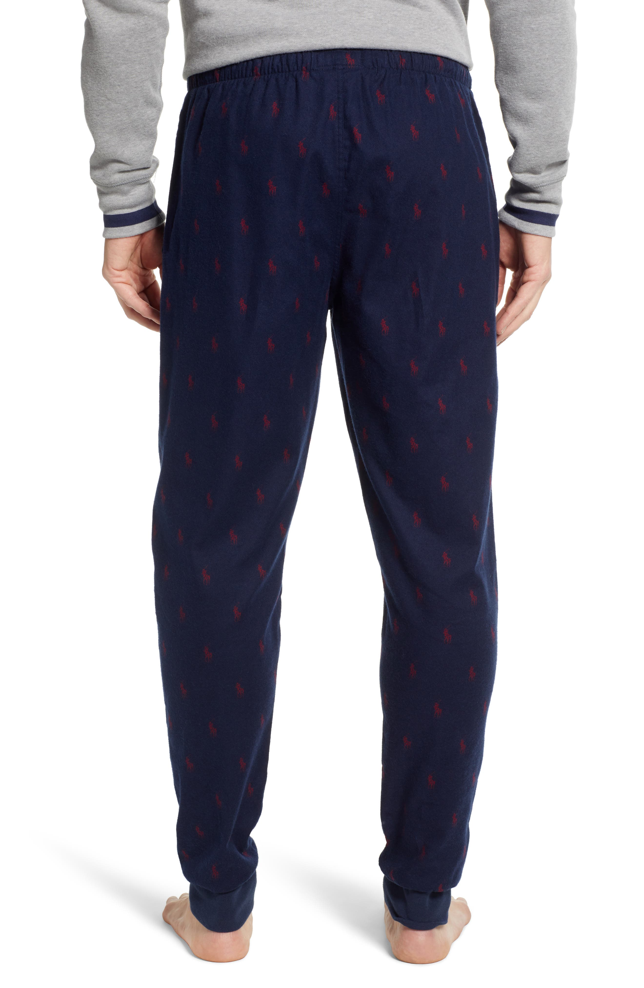 POLO RALPH LAUREN, Flannel Cotton Jogger Pants, Alternate thumbnail 2, color, CRUISE NAVY/ HOLIDAY RED