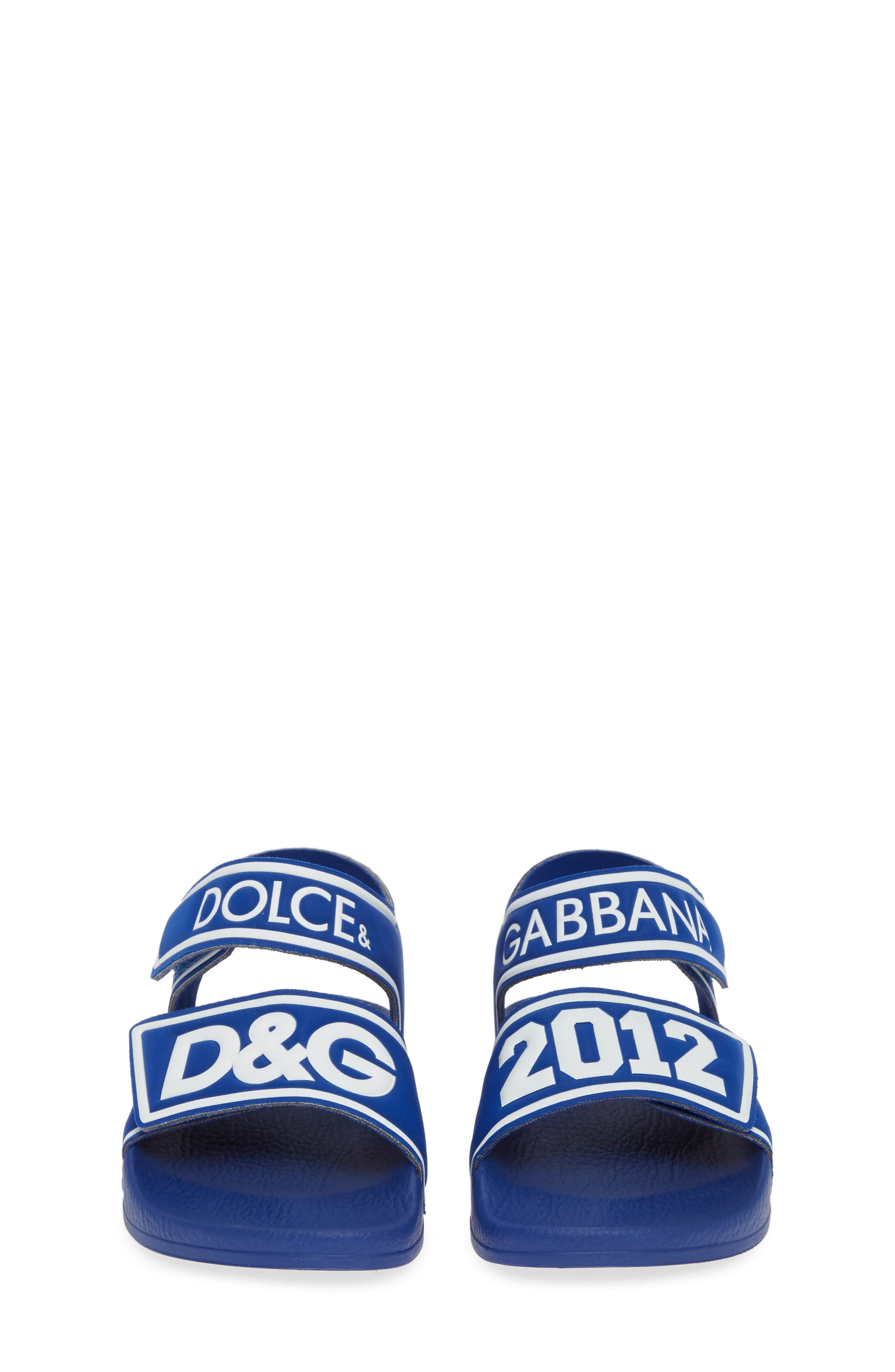 DOLCE&GABBANA, Jelly Fisherman Sandal, Alternate thumbnail 5, color, BLUE/ WHITE
