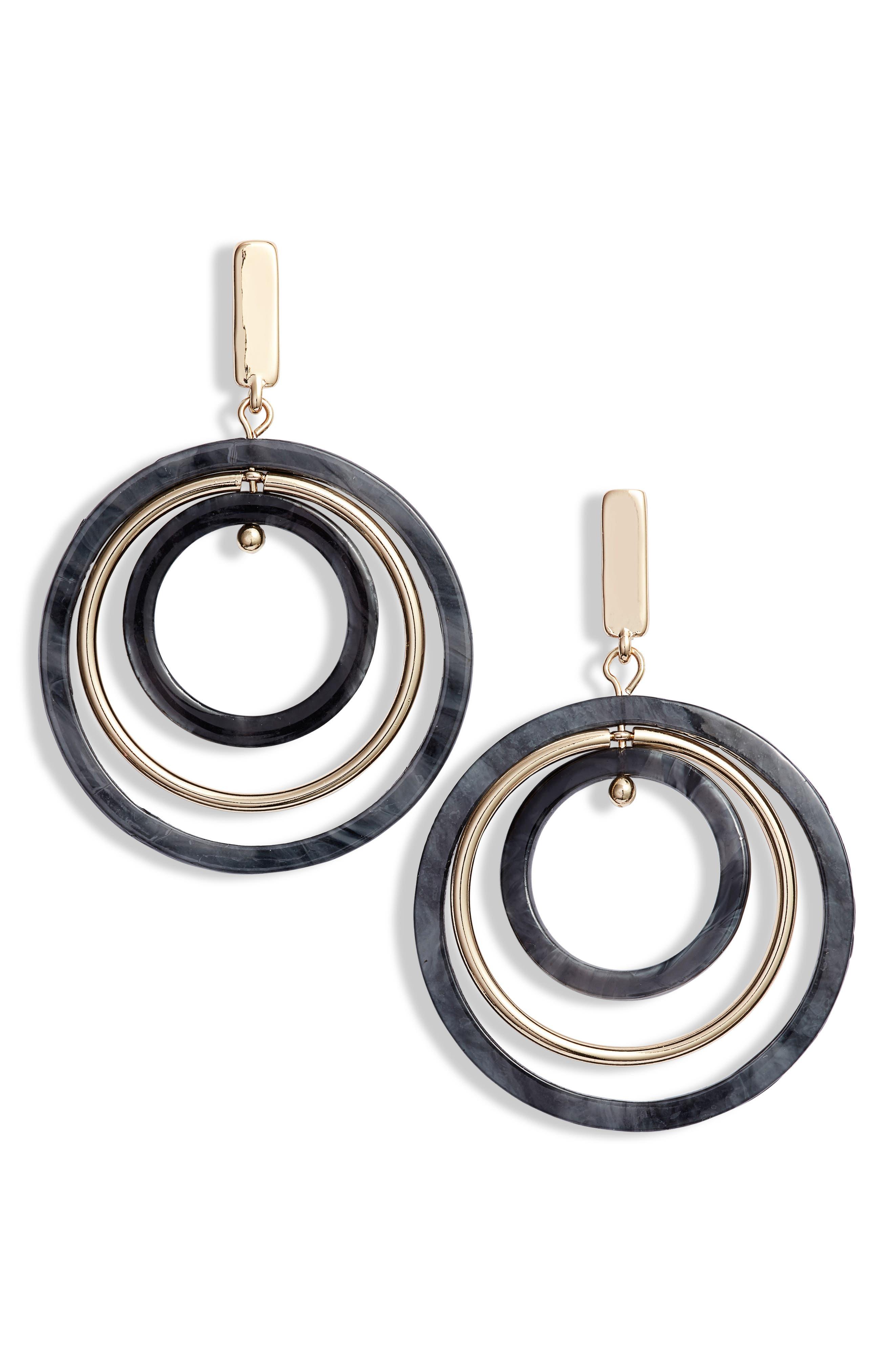 HALOGEN<SUP>®</SUP>, Circle Drop Earrings, Main thumbnail 1, color, 001