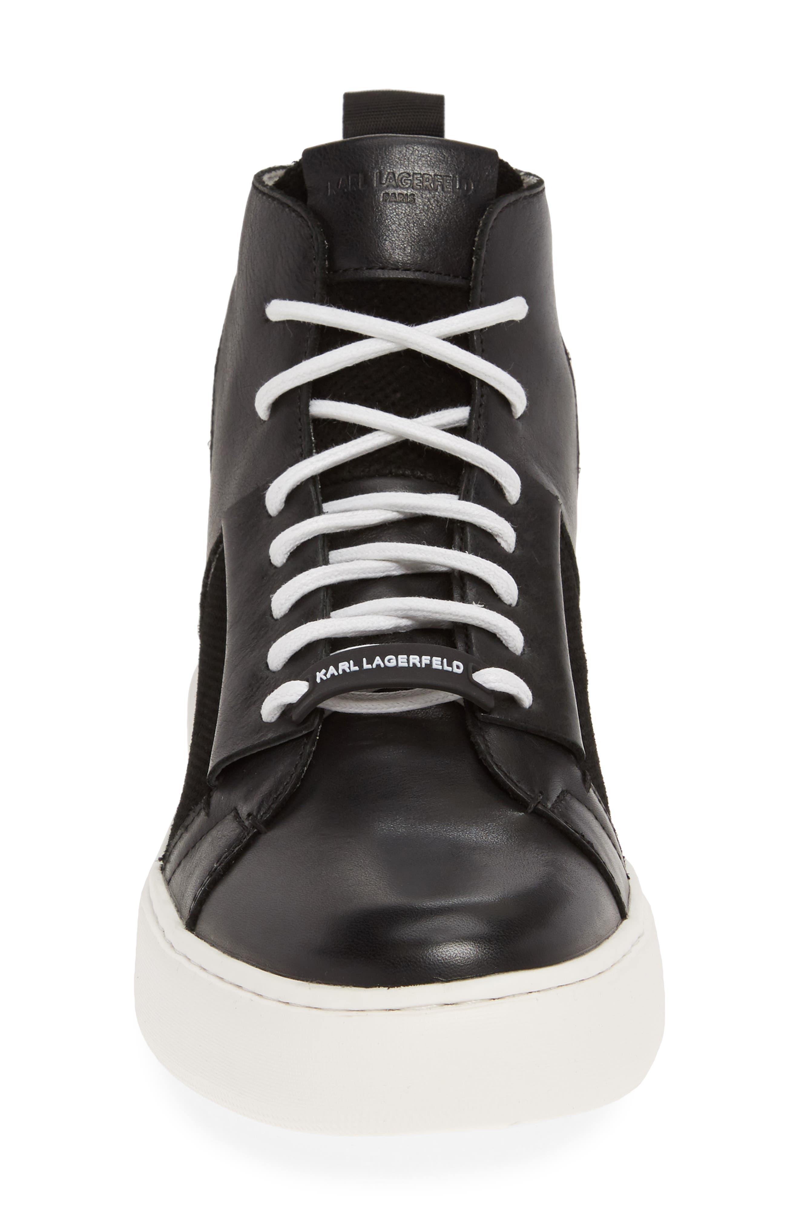 KARL LAGERFELD PARIS, High Top Sneaker, Alternate thumbnail 4, color, BLACK LEATHER
