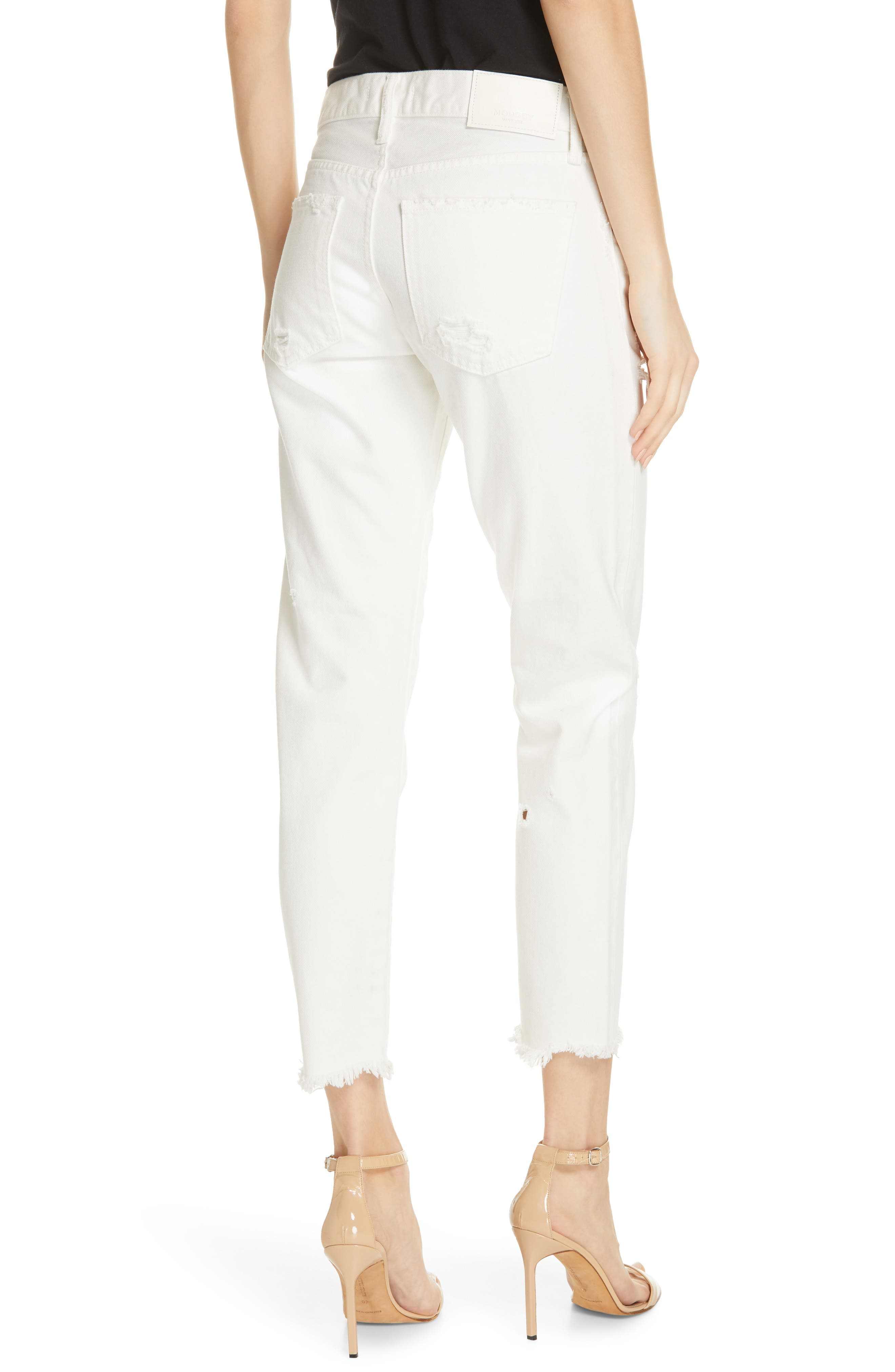 MOUSSY VINTAGE, Kelley Tapered Crop Jeans, Alternate thumbnail 2, color, WHITE