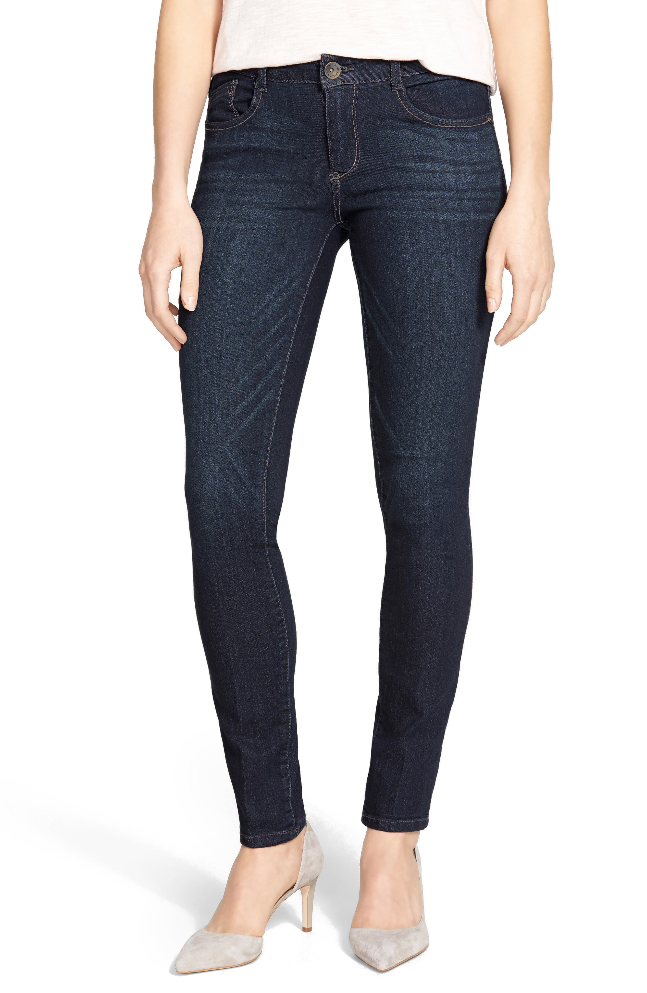 WIT & WISDOM, Super Smooth Stretch Denim Skinny Jeans, Main thumbnail 1, color, DARK NAVY