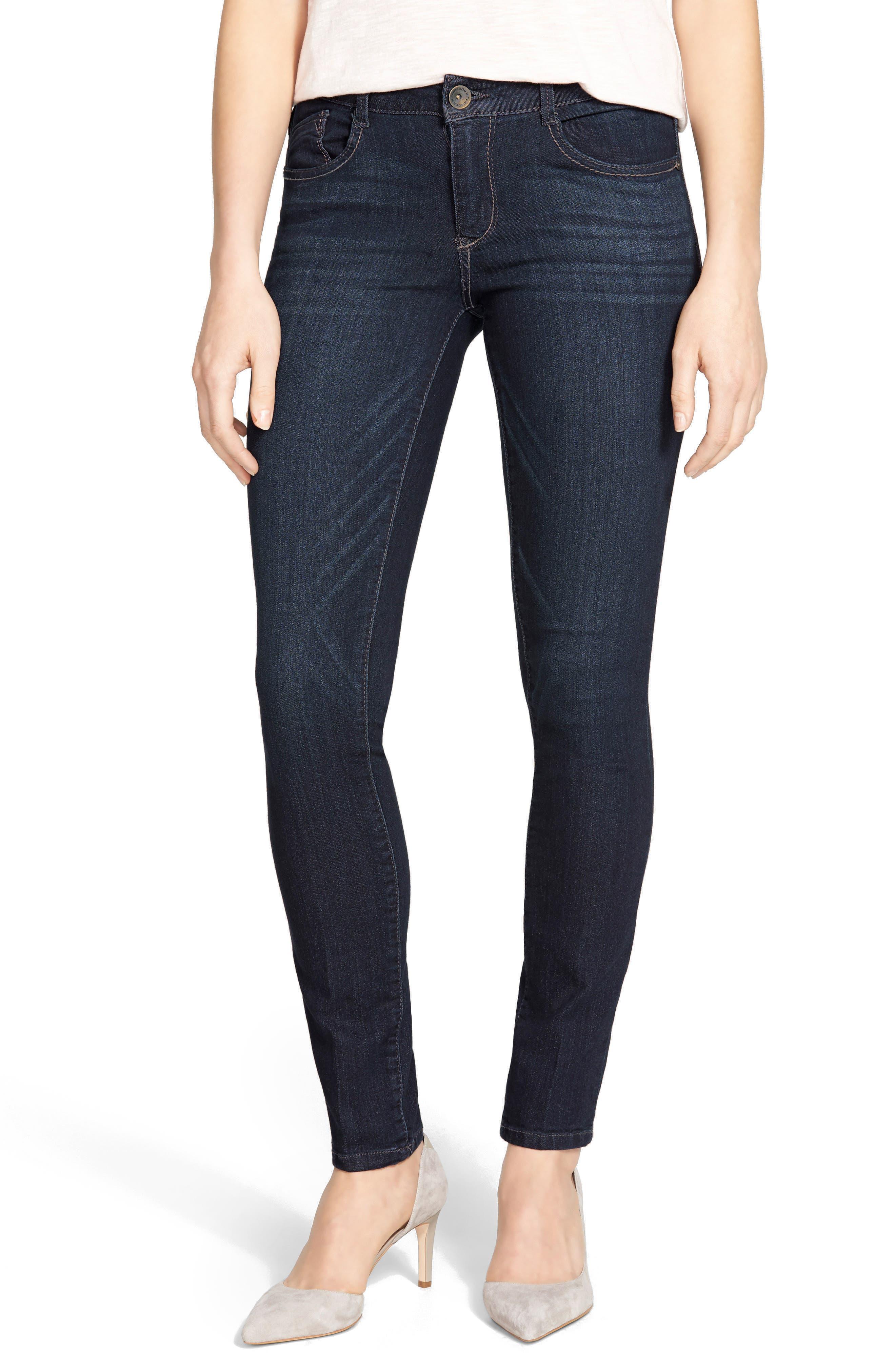 WIT & WISDOM, Super Smooth Stretch Denim Skinny Jeans, Main thumbnail 1, color, DARK NAVY