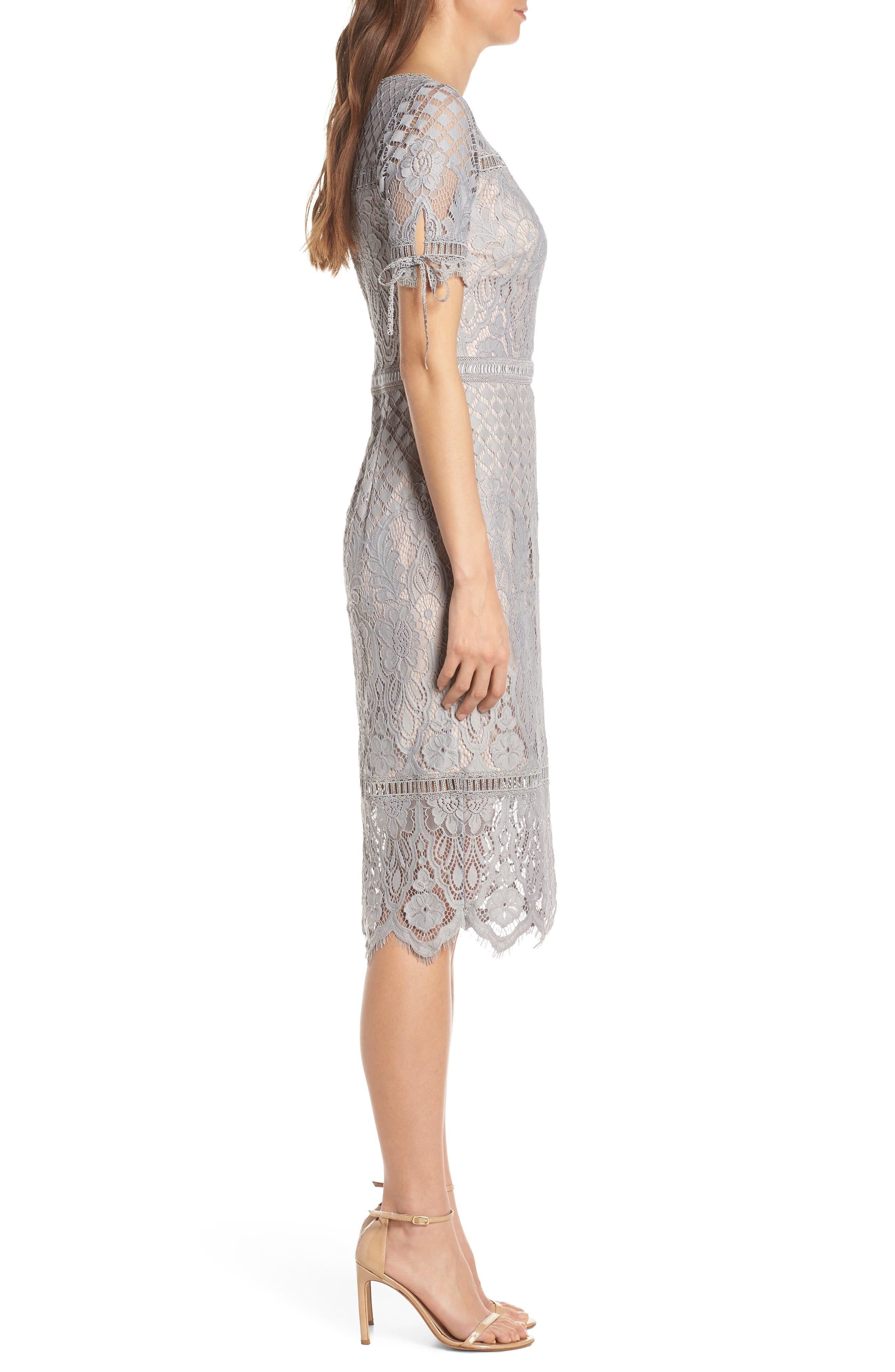 TADASHI SHOJI, Tie Sleeve Lace Sheath Dress, Alternate thumbnail 4, color, PEWTER/ PETAL