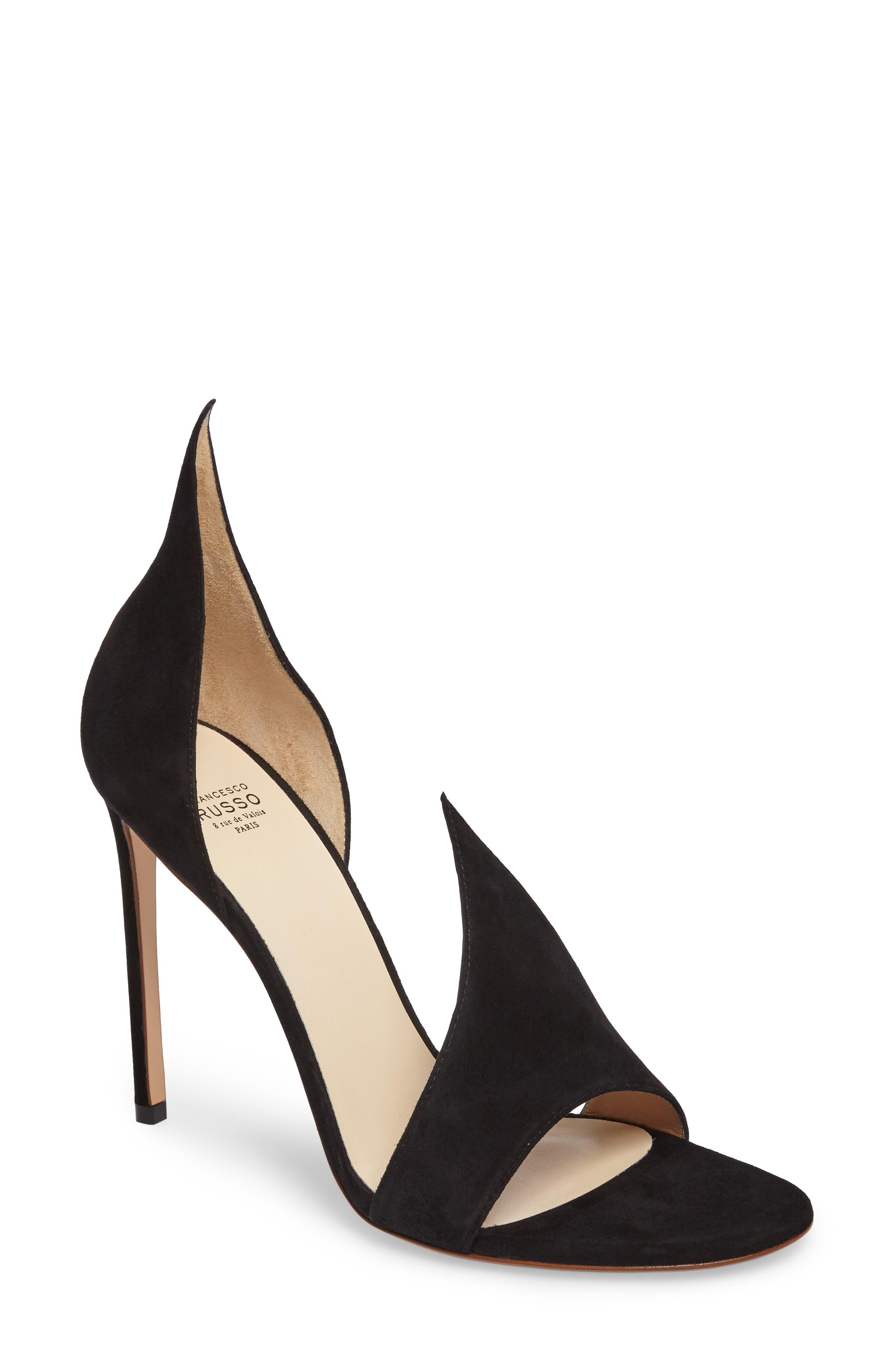 FRANCESCO RUSSO Flame Sandal, Main, color, BLACK