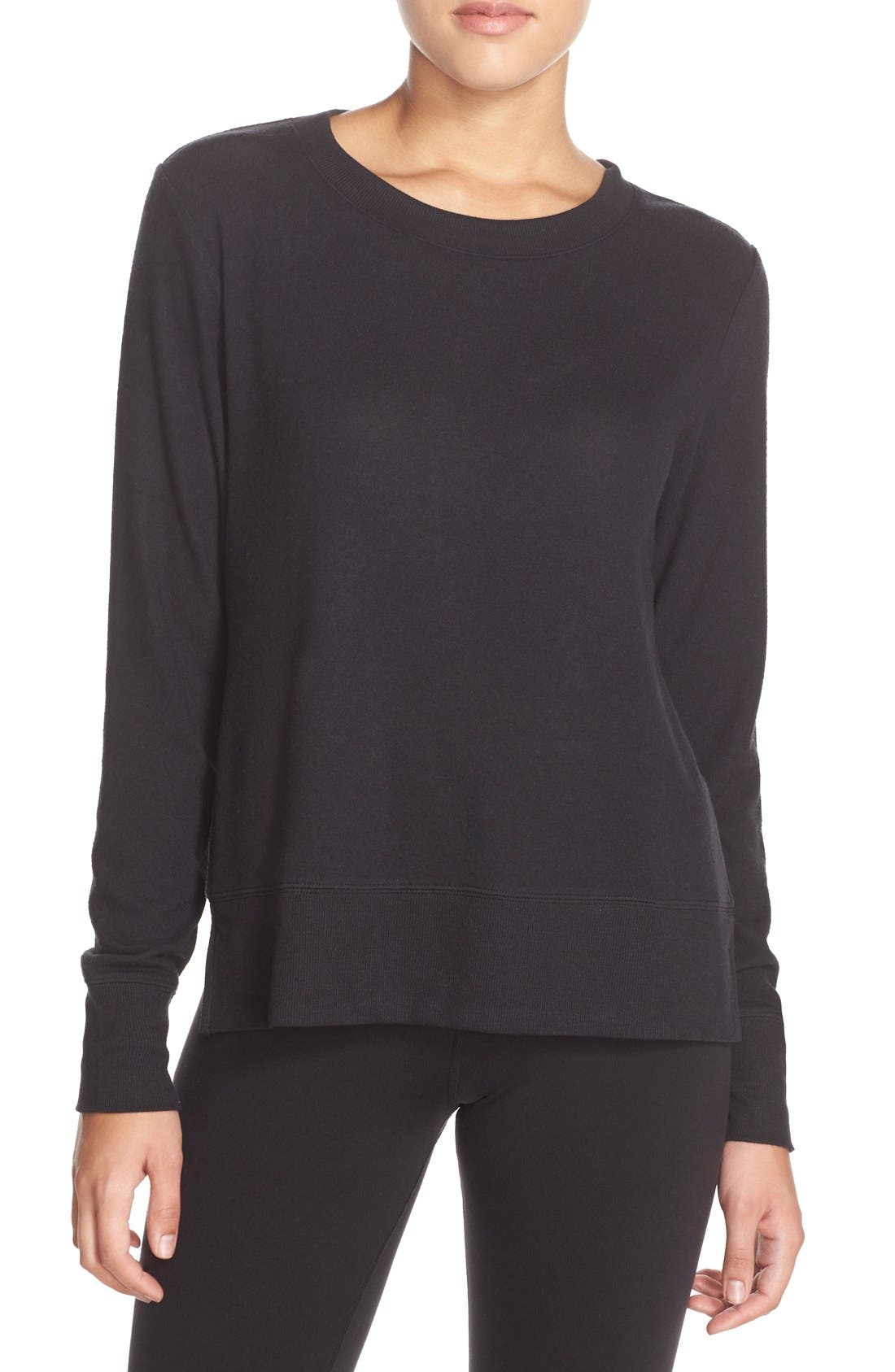 ALO, 'Glimpse' Long Sleeve Top, Main thumbnail 1, color, BLACK
