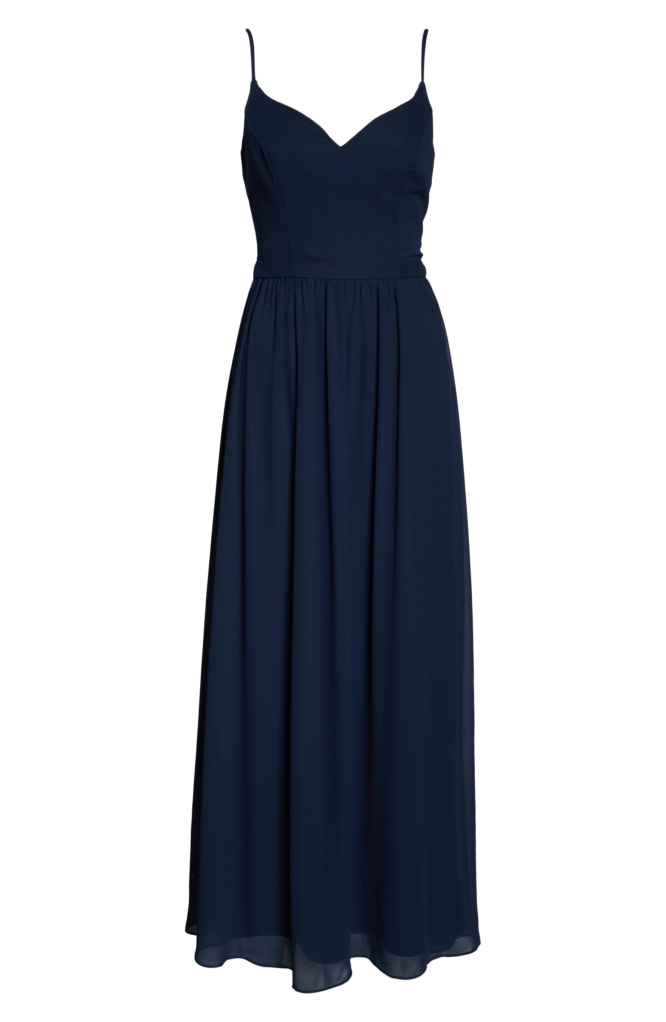 #LEVKOFF, Levkoff Chiffon Gown, Alternate thumbnail 3, color, NAVY