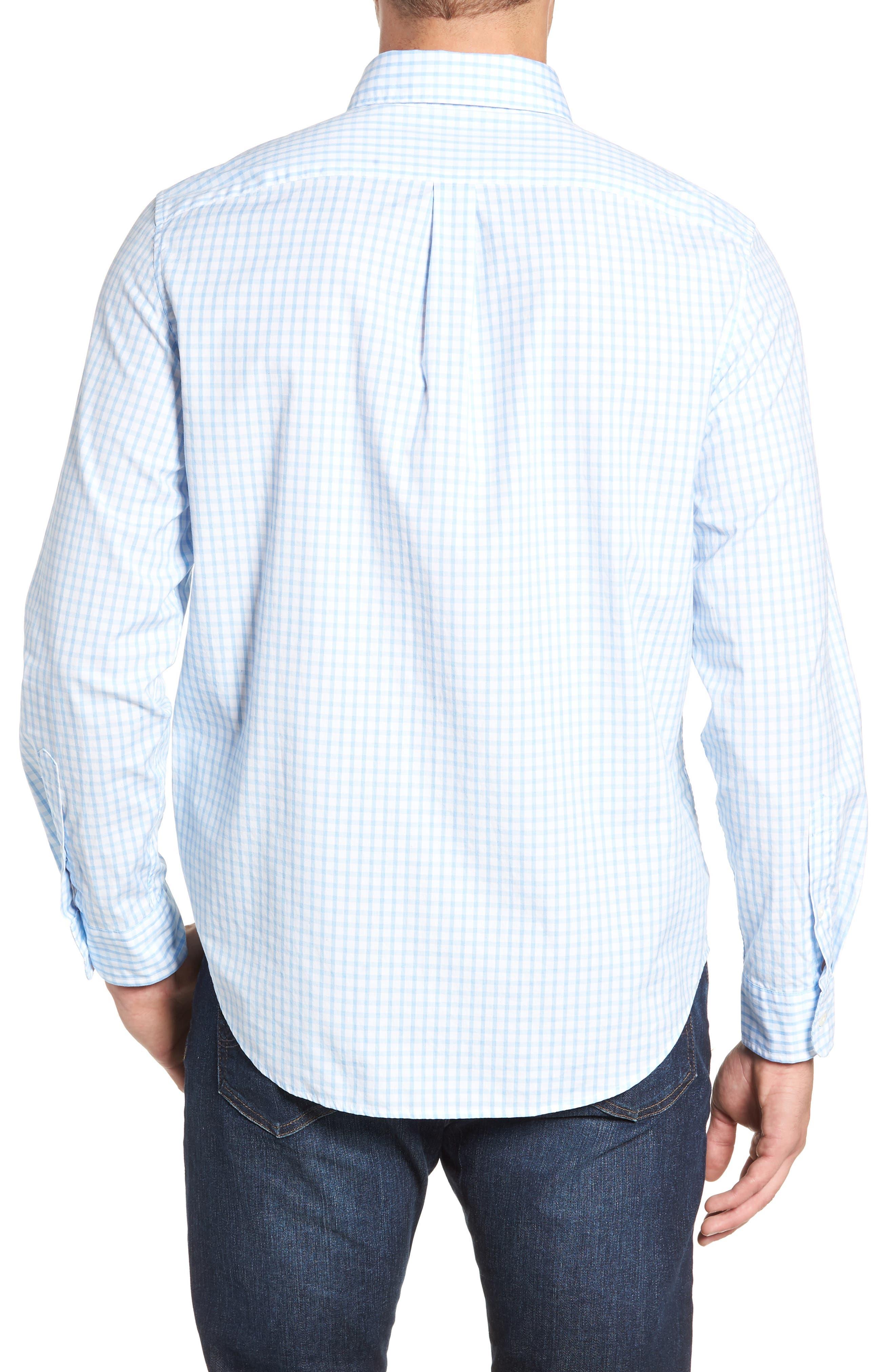 VINEYARD VINES, Micro Graph Classic Fit Check Sport Shirt, Alternate thumbnail 3, color, OCEAN BREEZE