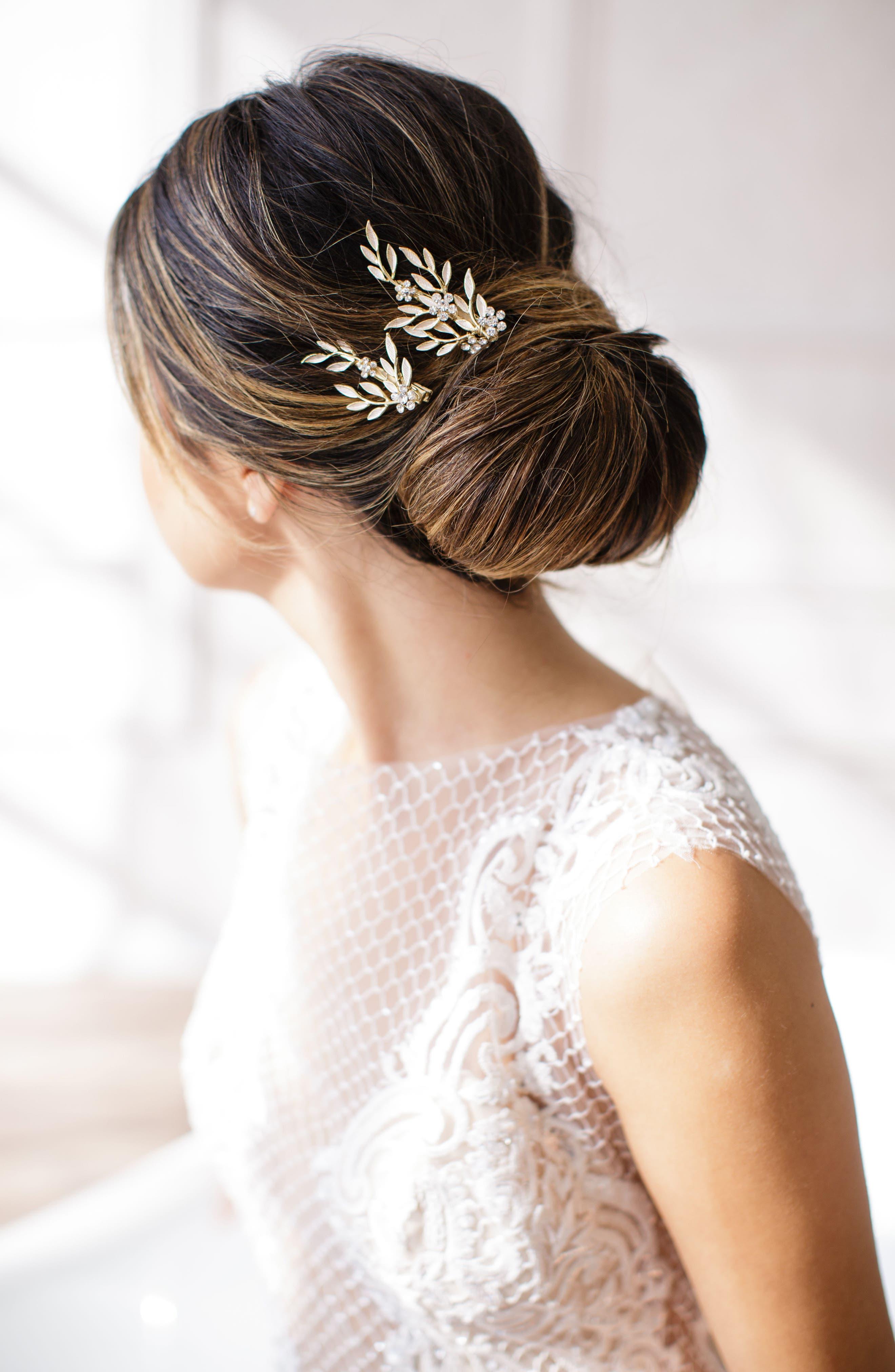 BRIDES & HAIRPINS, Calvina 2-Piece Hair Clip Set, Alternate thumbnail 4, color, GOLD