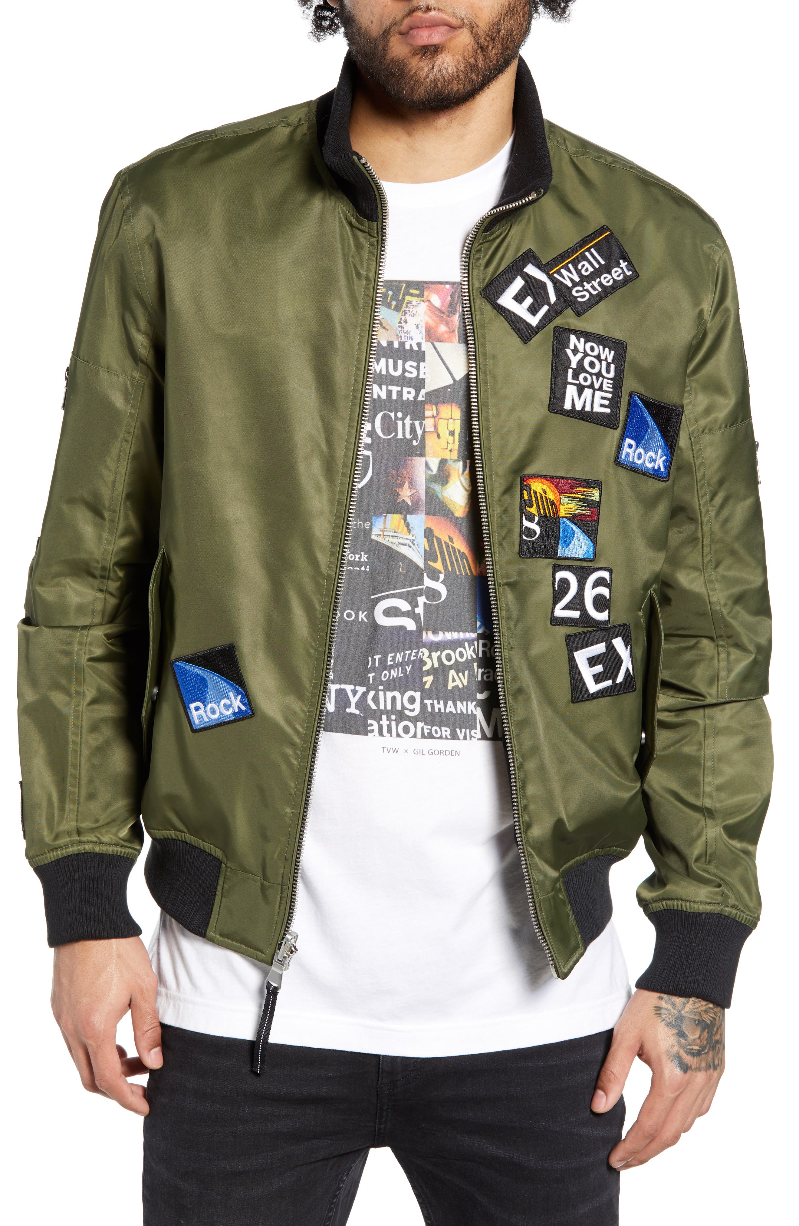THE VERY WARM Lucian Reversible Bomber Jacket, Main, color, ARMY GREEN