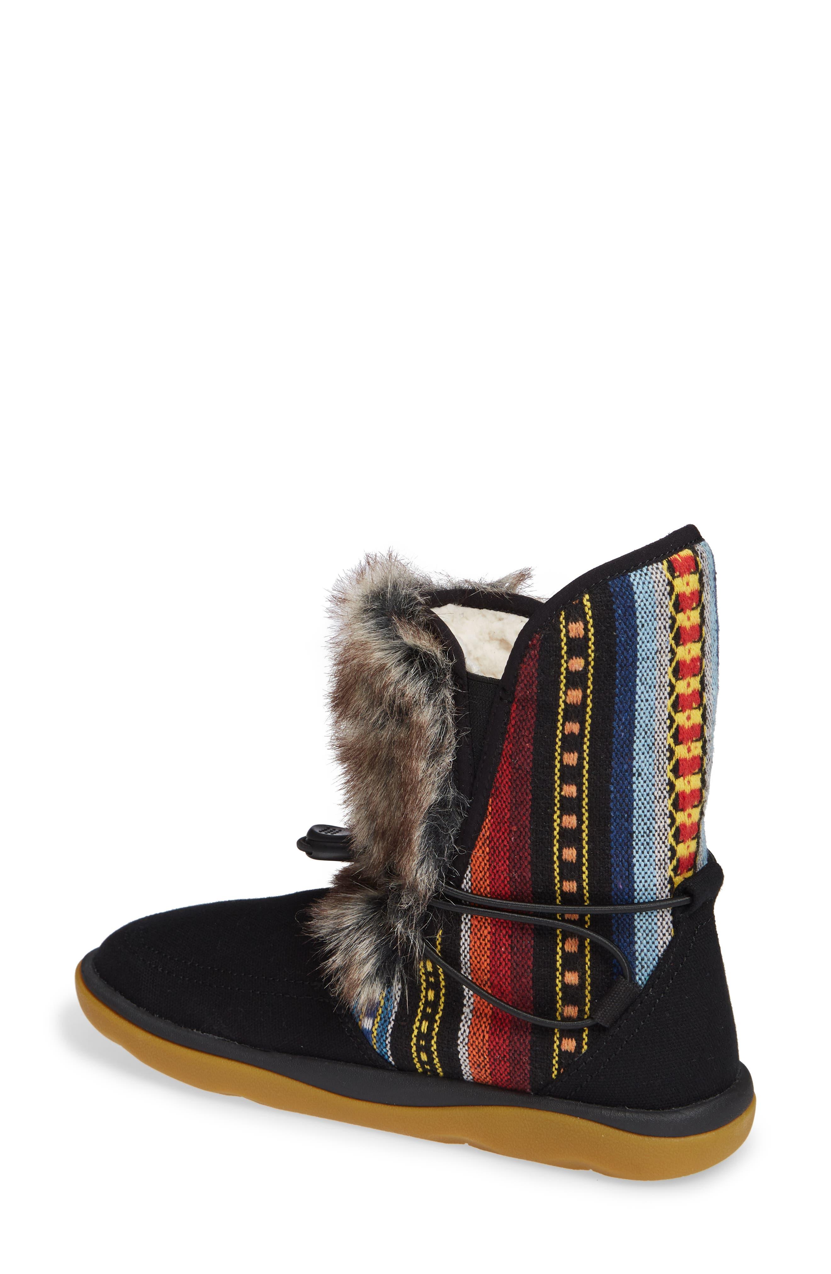 SANUK, Tripper Flurry Faux Fur Boot, Alternate thumbnail 2, color, BLACK