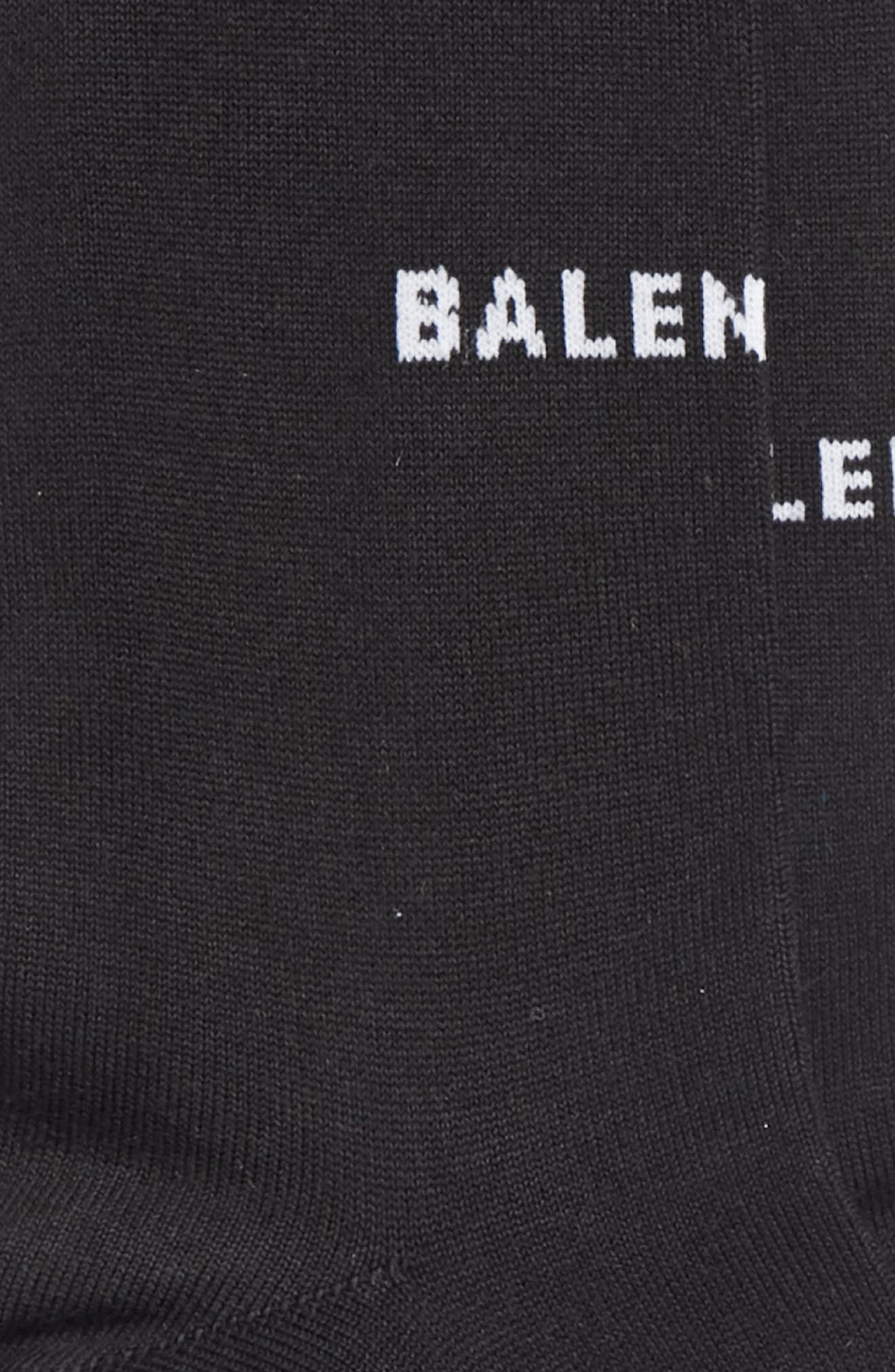 BALENCIAGA, Balenicaga Logo Crew Socks, Alternate thumbnail 2, color, BLACK/ WHITE
