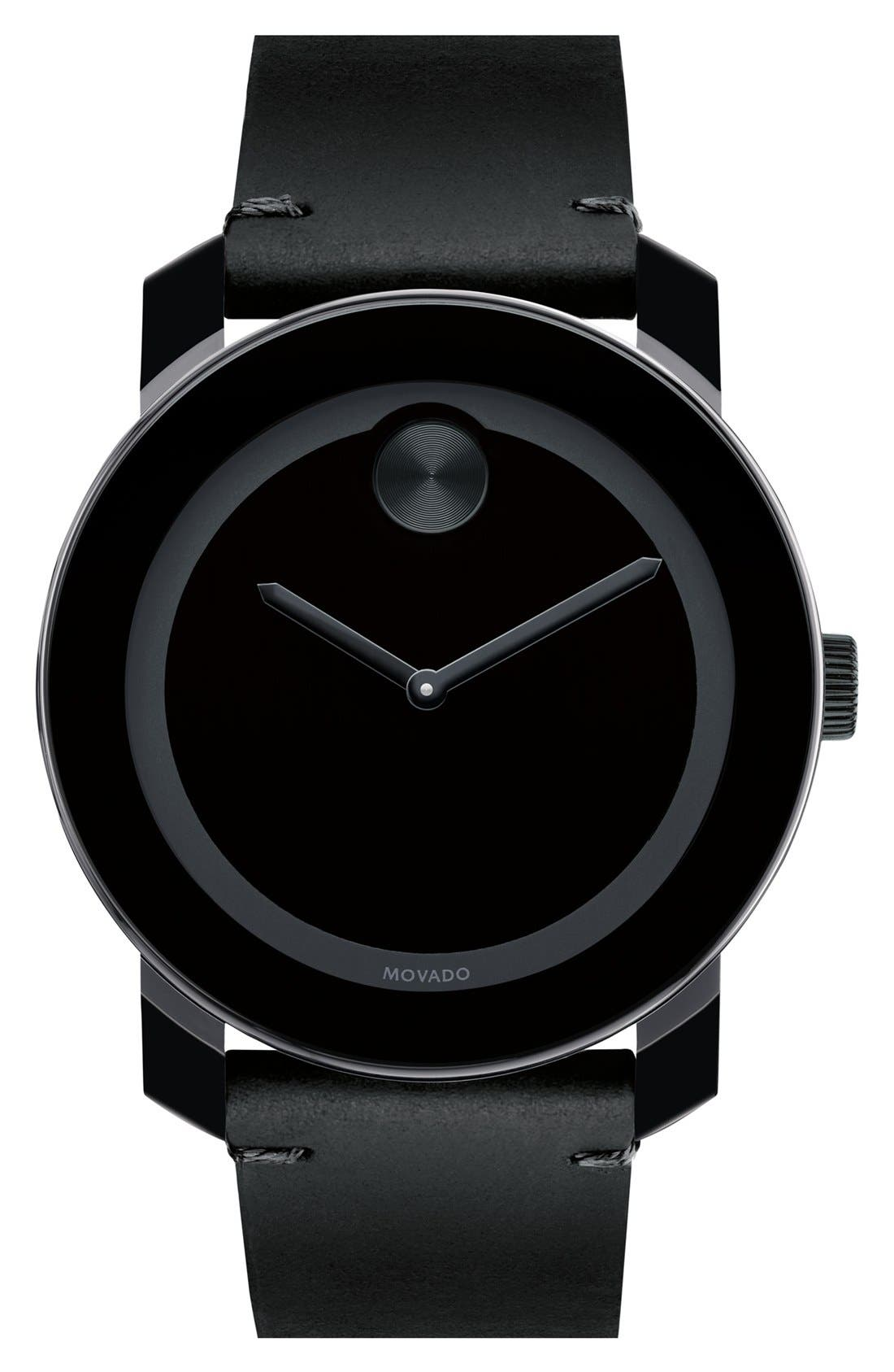 MOVADO 'Bold' Leather Strap Watch, 42mm, Main, color, GREY/ BLACK