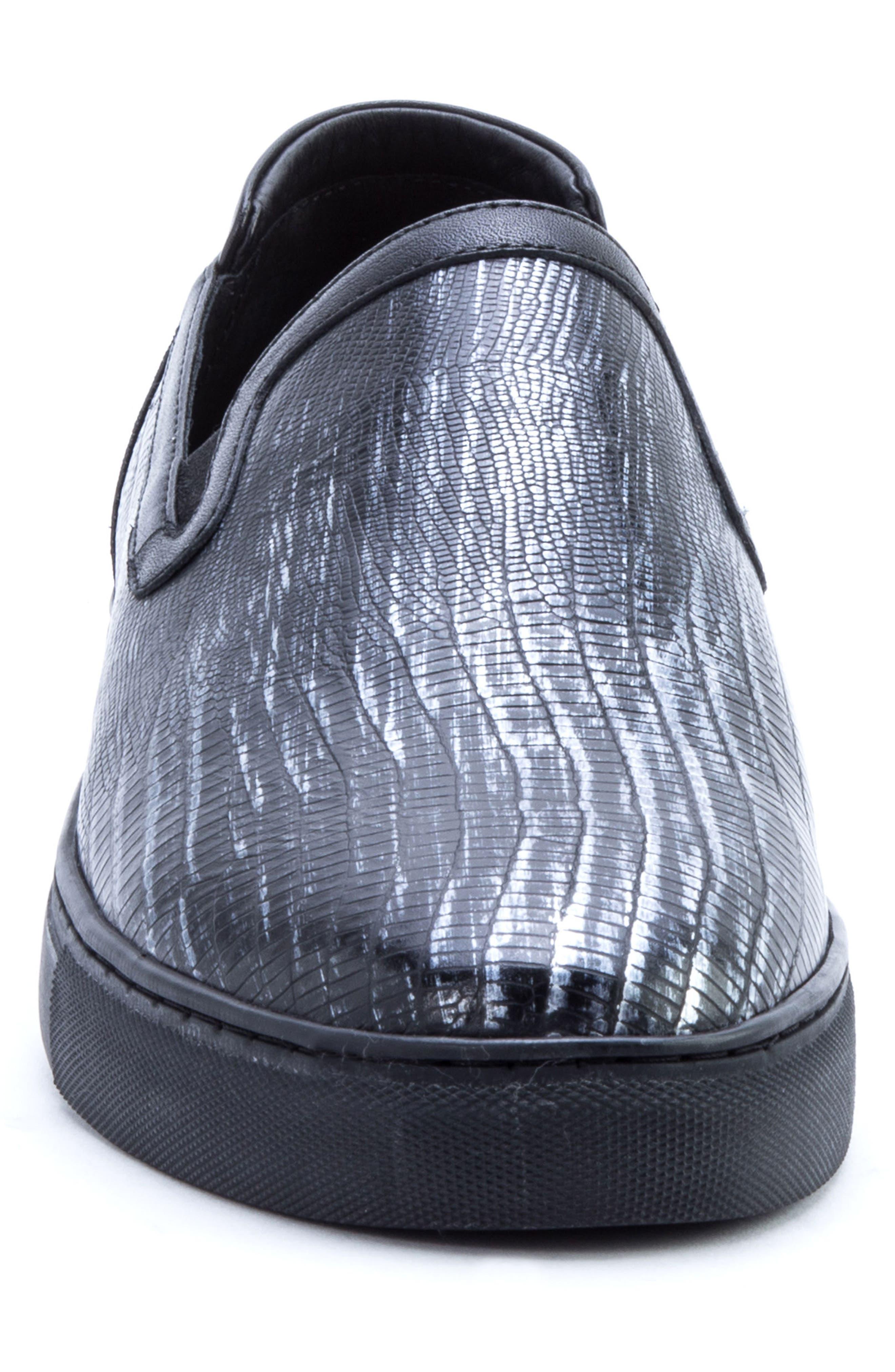 BADGLEY MISCHKA COLLECTION, Badgley Mischka Bogart Sneaker, Alternate thumbnail 4, color, BLACK LEATHER