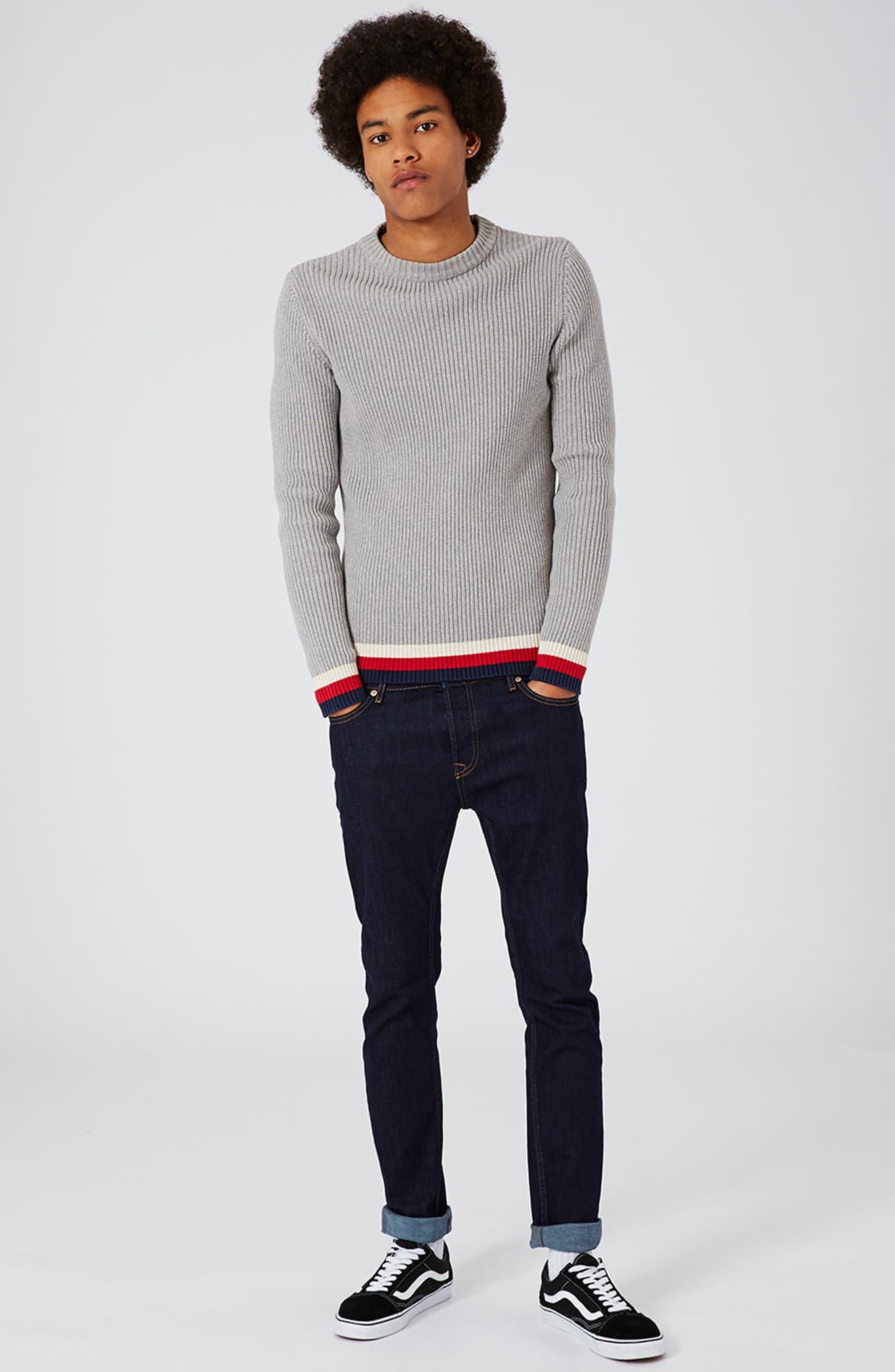 TOPMAN, Stretch Skinny Fit Raw Denim Jeans, Alternate thumbnail 7, color, BLUE