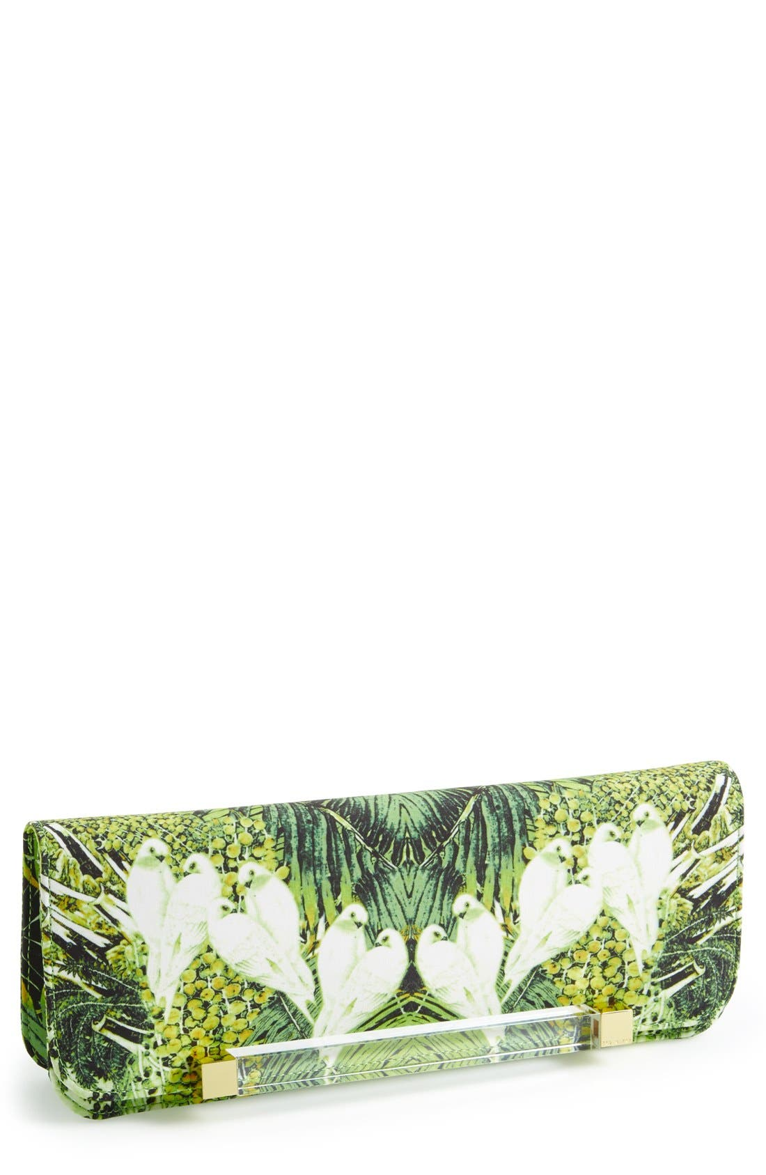 TED BAKER LONDON, 'Tropical Dove' Clutch, Main thumbnail 1, color, 300