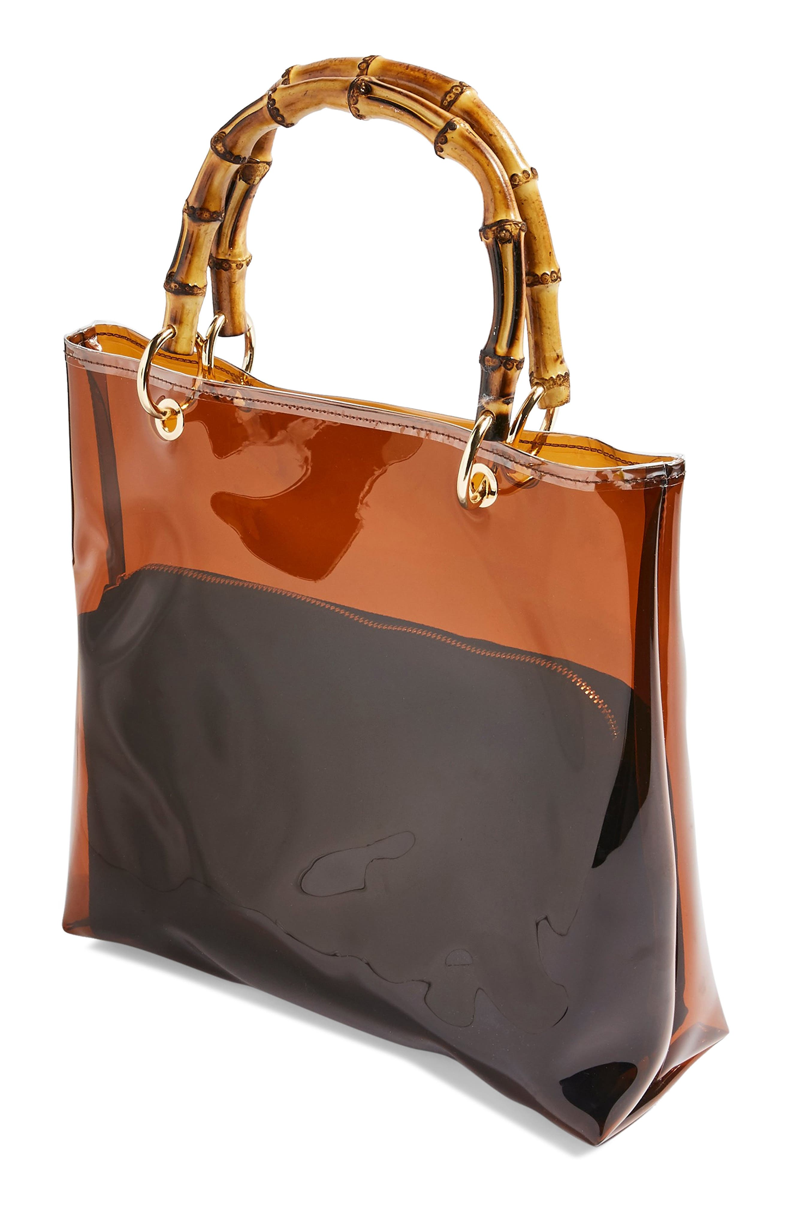 TOPSHOP, Mercy Top Handle Tote Bag, Alternate thumbnail 5, color, BROWN