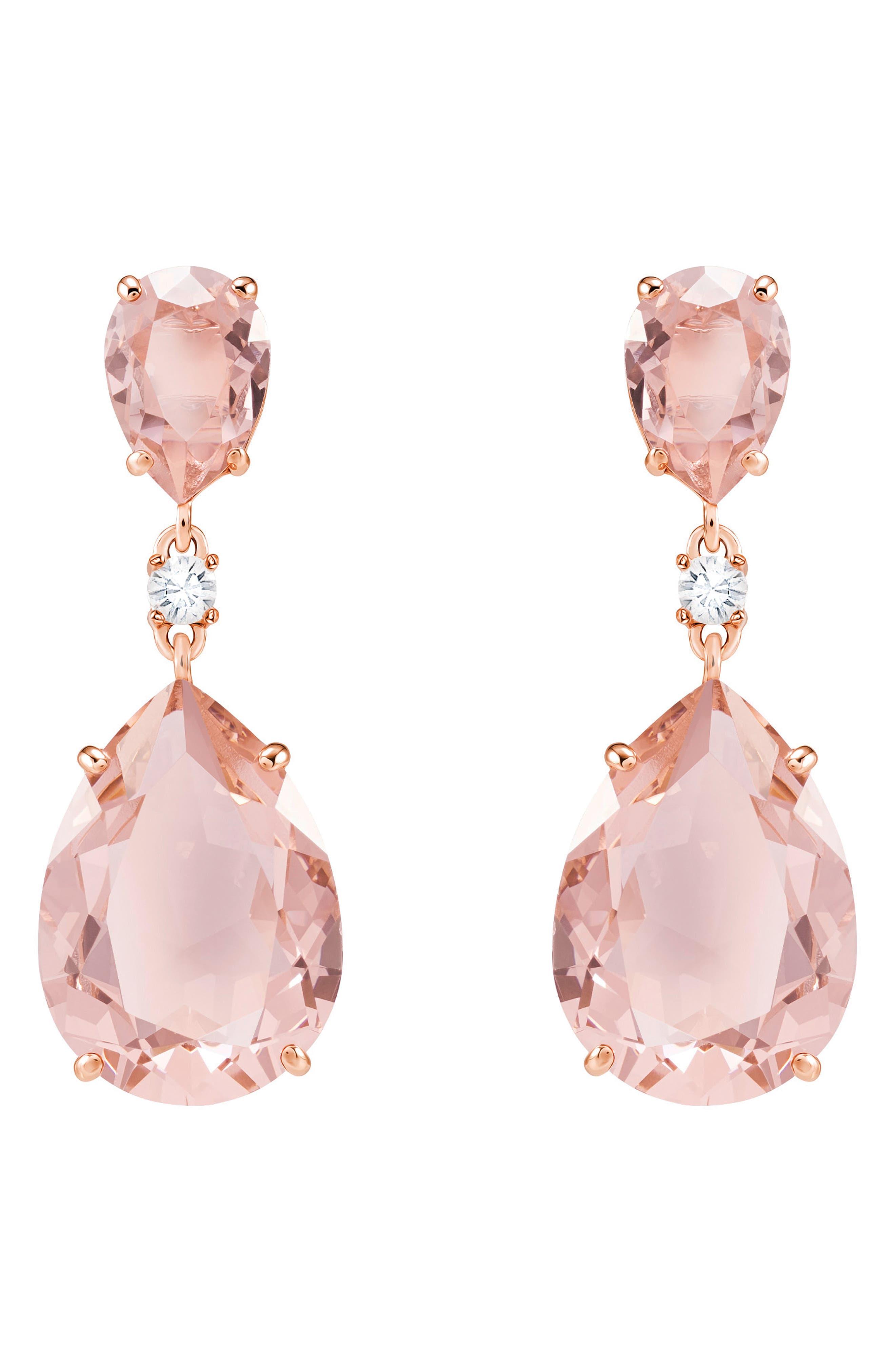 Pear Crystal Drop Earrings, Main, color, PINK