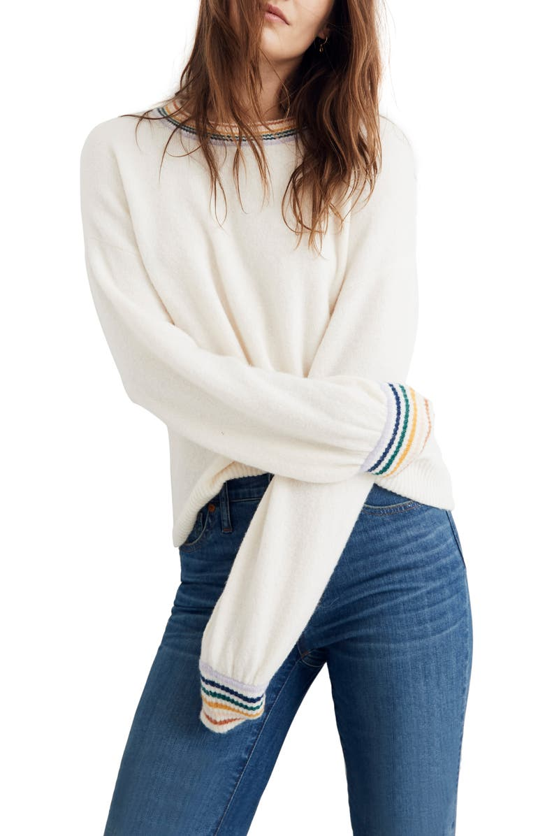 Madewell Sweaters GLADWELL RAINBOW TRIM BALLOON SLEEVE SWEATER