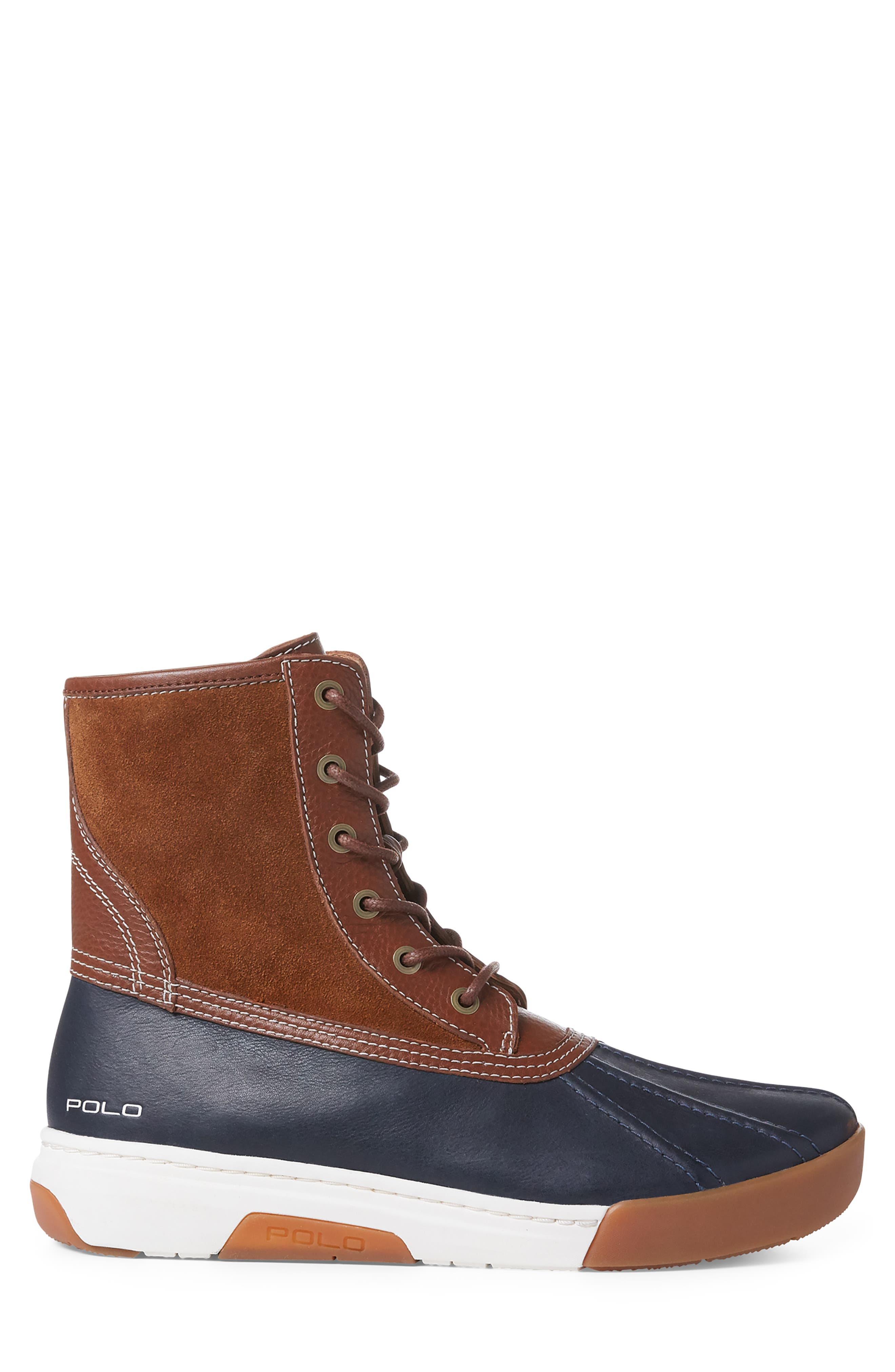 POLO RALPH LAUREN, Declan Water Repellent Duck Boot, Alternate thumbnail 2, color, SNUFF/ NAVY LEATHER