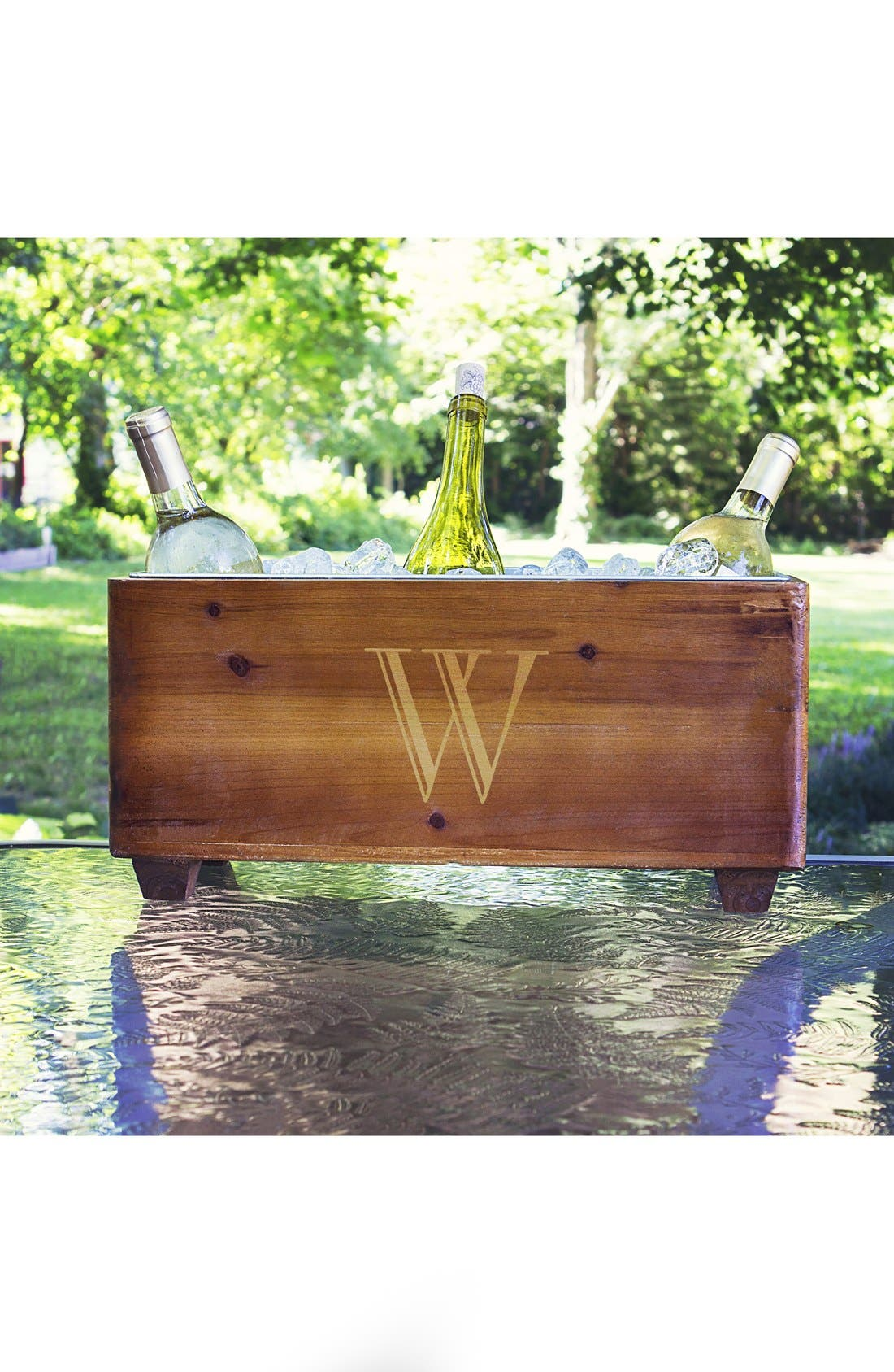 CATHY'S CONCEPTS, Monogram Wood Wine Trough, Alternate thumbnail 2, color, BLANK