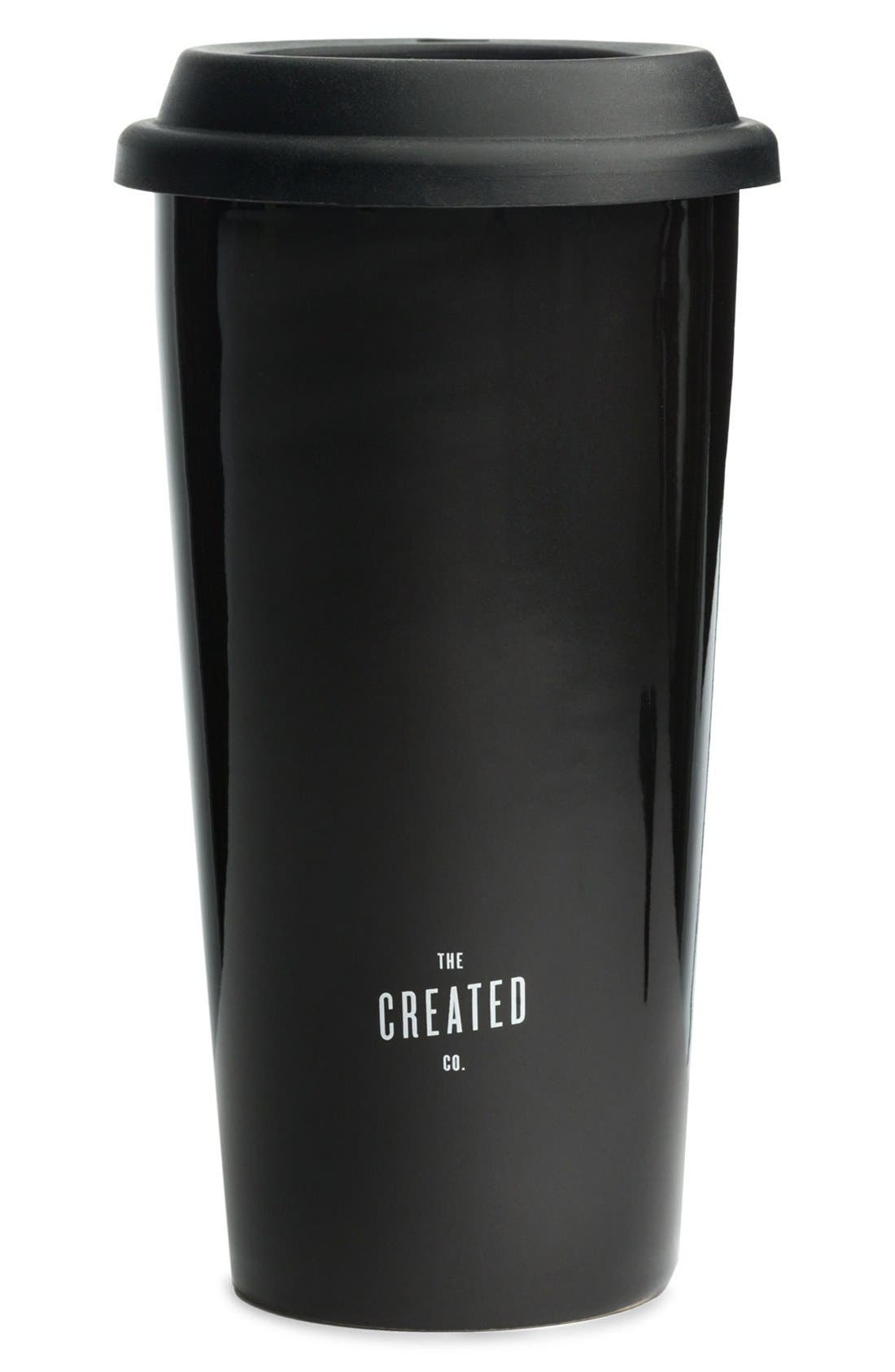 THE CREATED CO., 'Coffee First' Travel Tumbler, Alternate thumbnail 3, color, 001