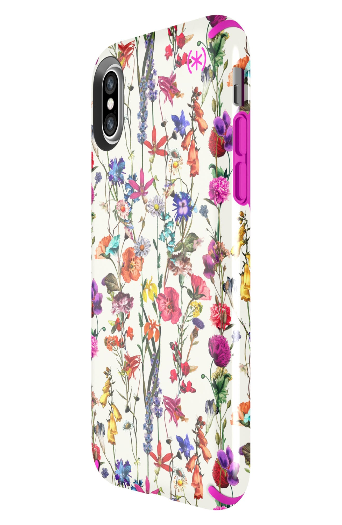 SPECK, Presidio Inked iPhone X & Xs Case, Alternate thumbnail 7, color, WHITEFLOWERS/ LIPSTICK PINK