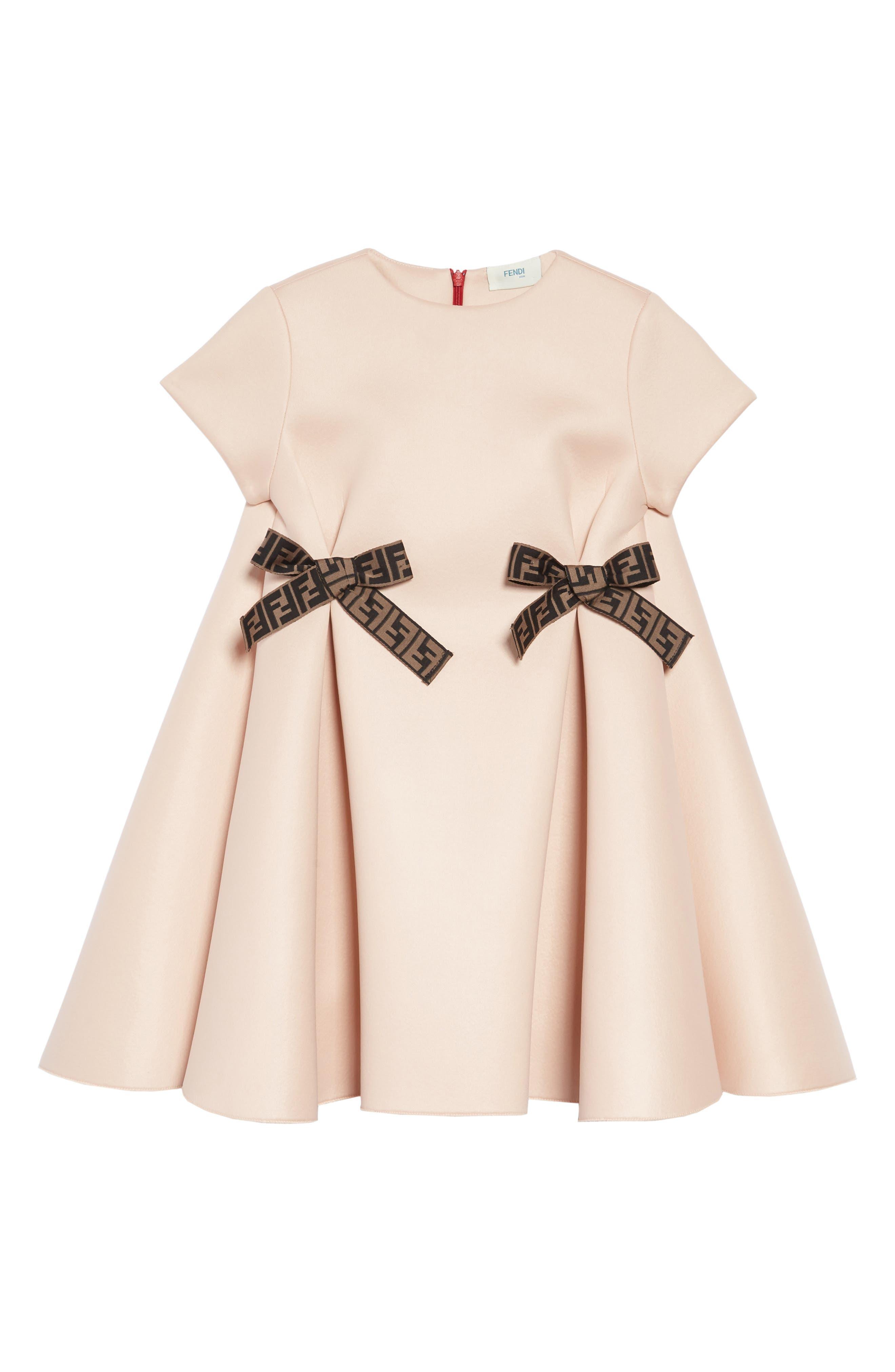 FENDI Bow Detail Dress, Main, color, F0JE6 PEACH