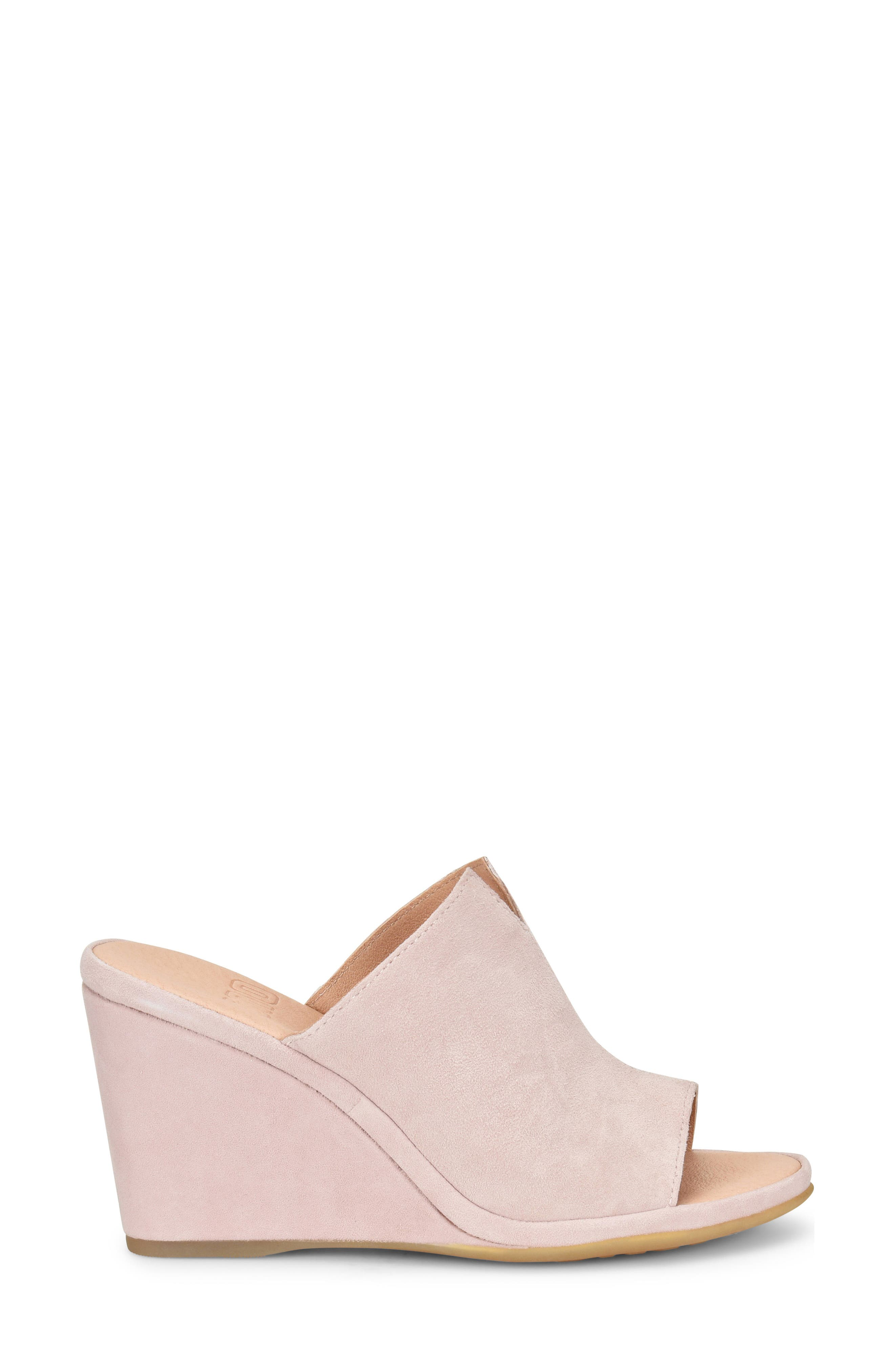 ONO, Hannah Wedge Mule, Alternate thumbnail 3, color, LIGHT PINK SUEDE