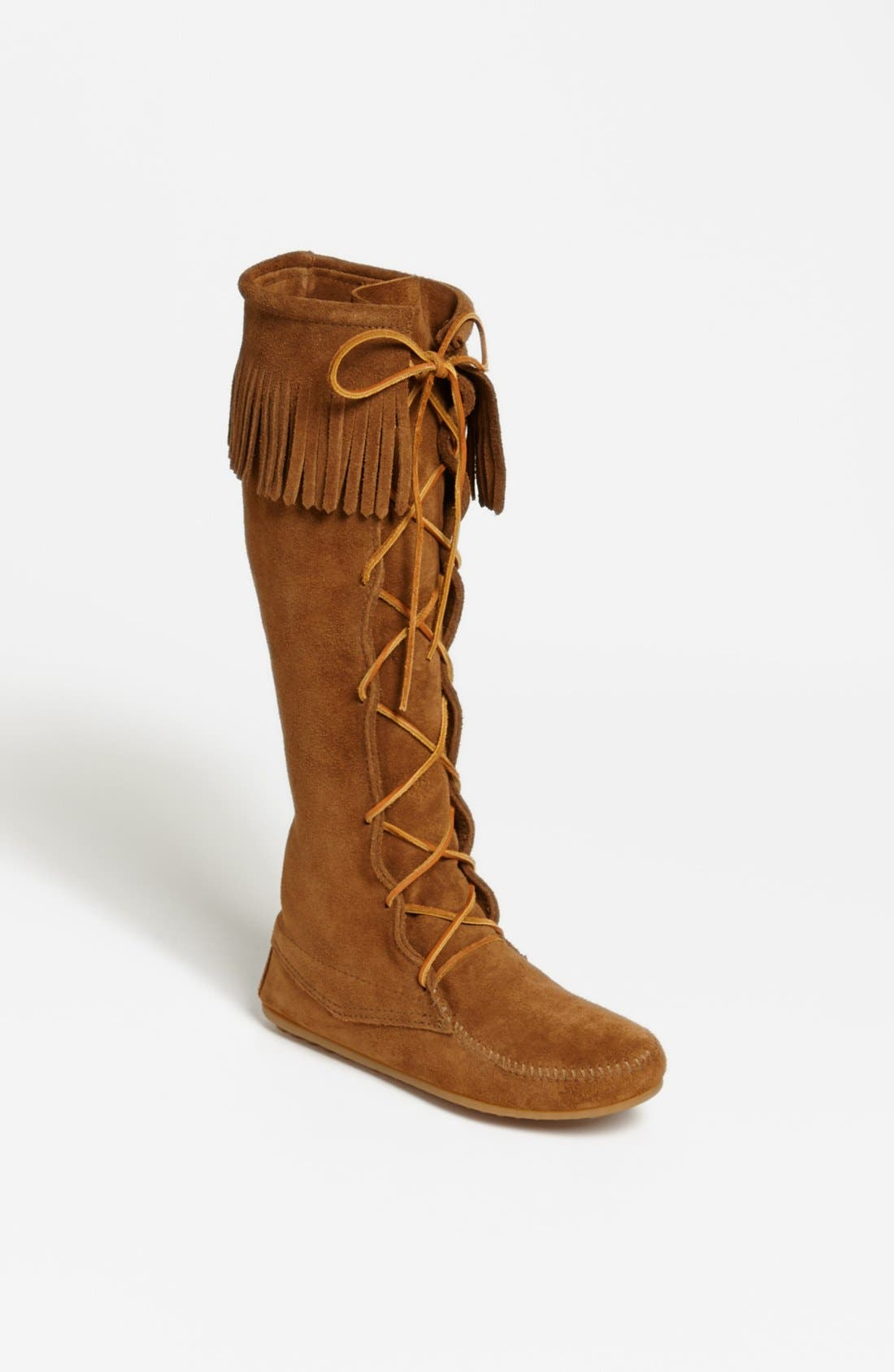 MINNETONKA, Lace-Up Boot, Main thumbnail 1, color, DUSTY BROWN