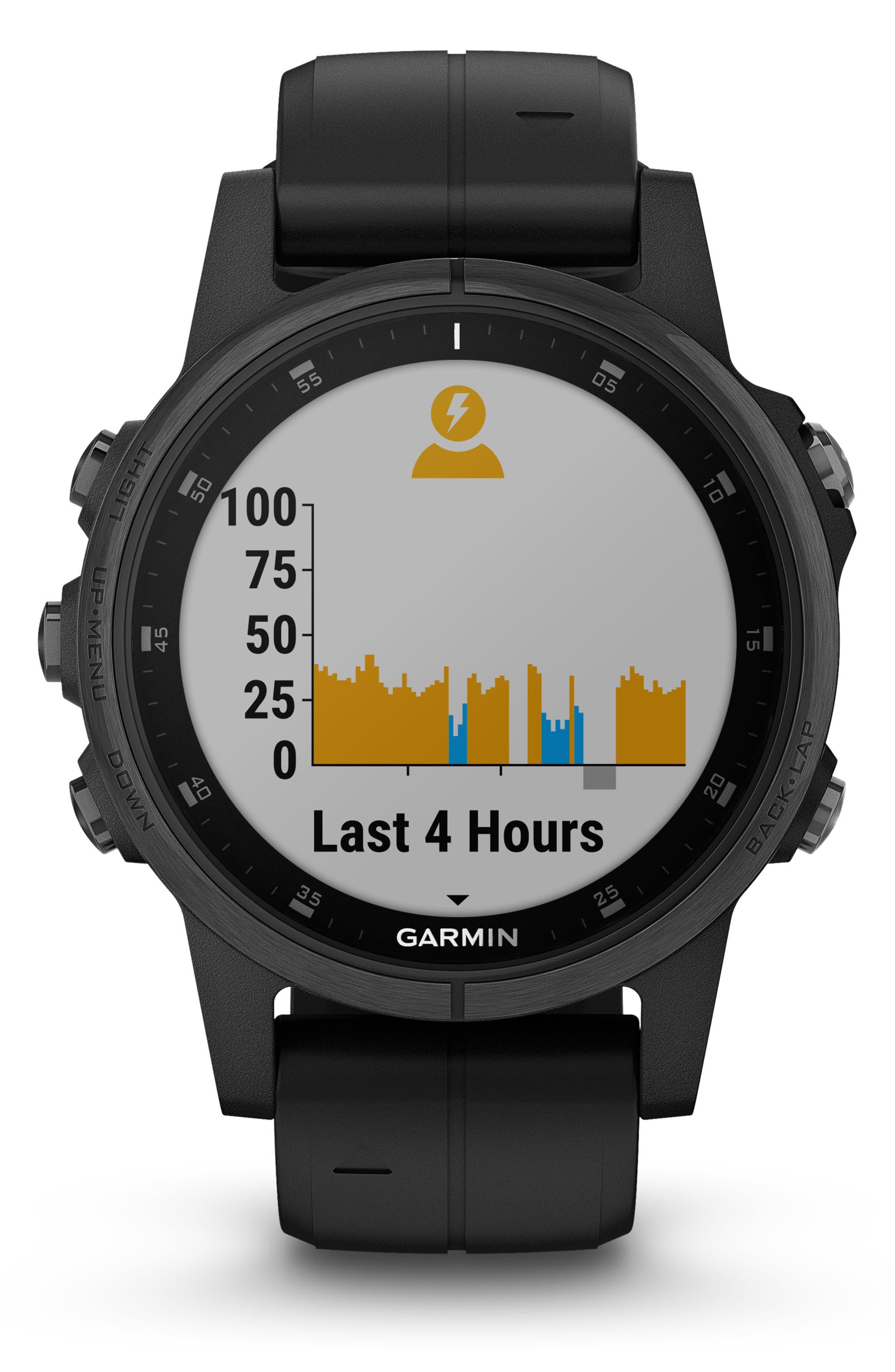 GARMIN, fenix<sup>®</sup> 5S Plus Sapphire Premium Multisport GPS Watch, 42mm, Alternate thumbnail 6, color, BLACK