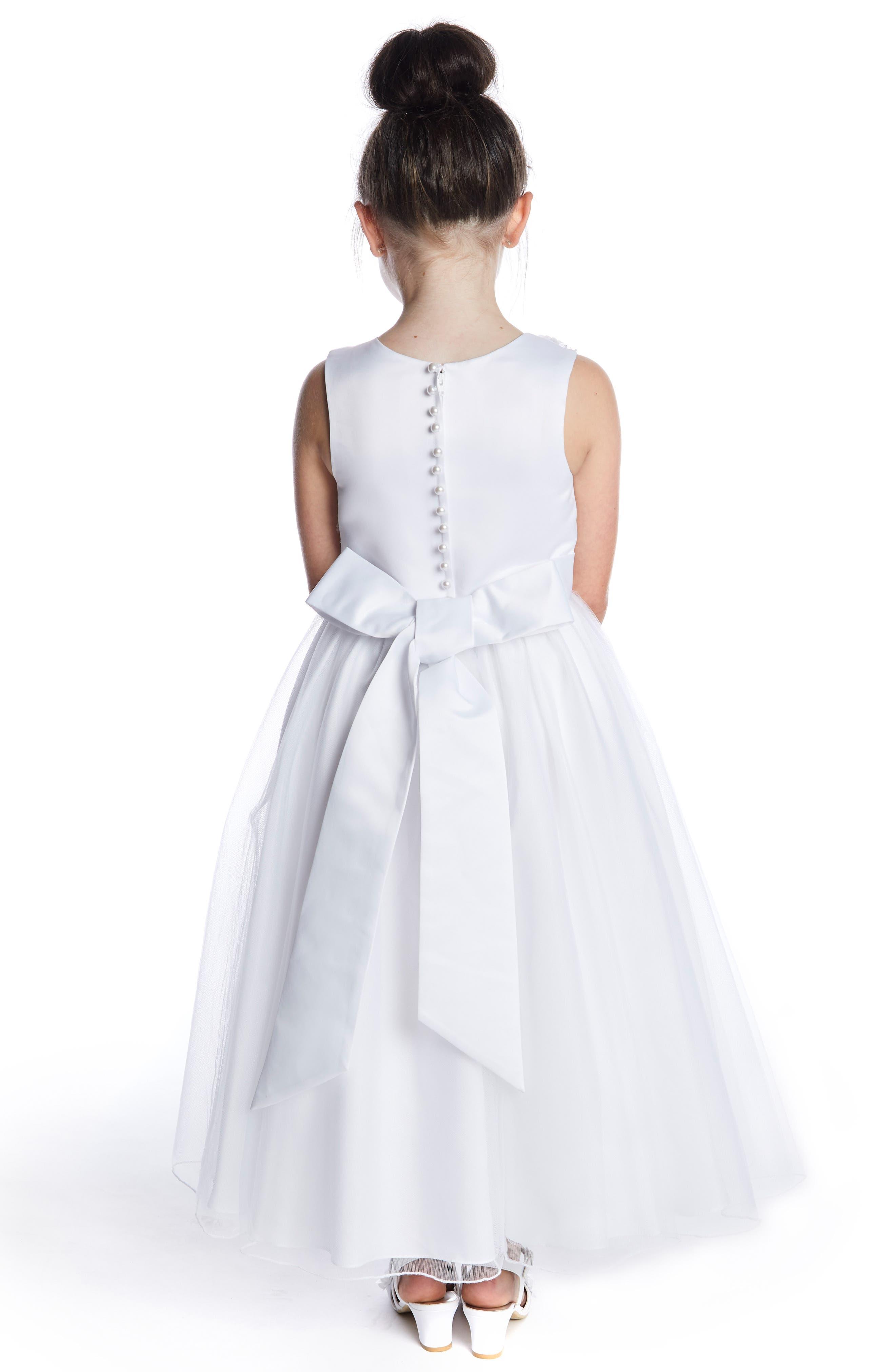 LAUREN MARIE, Imitation Pearl Tulle Dress, Alternate thumbnail 3, color, WHITE