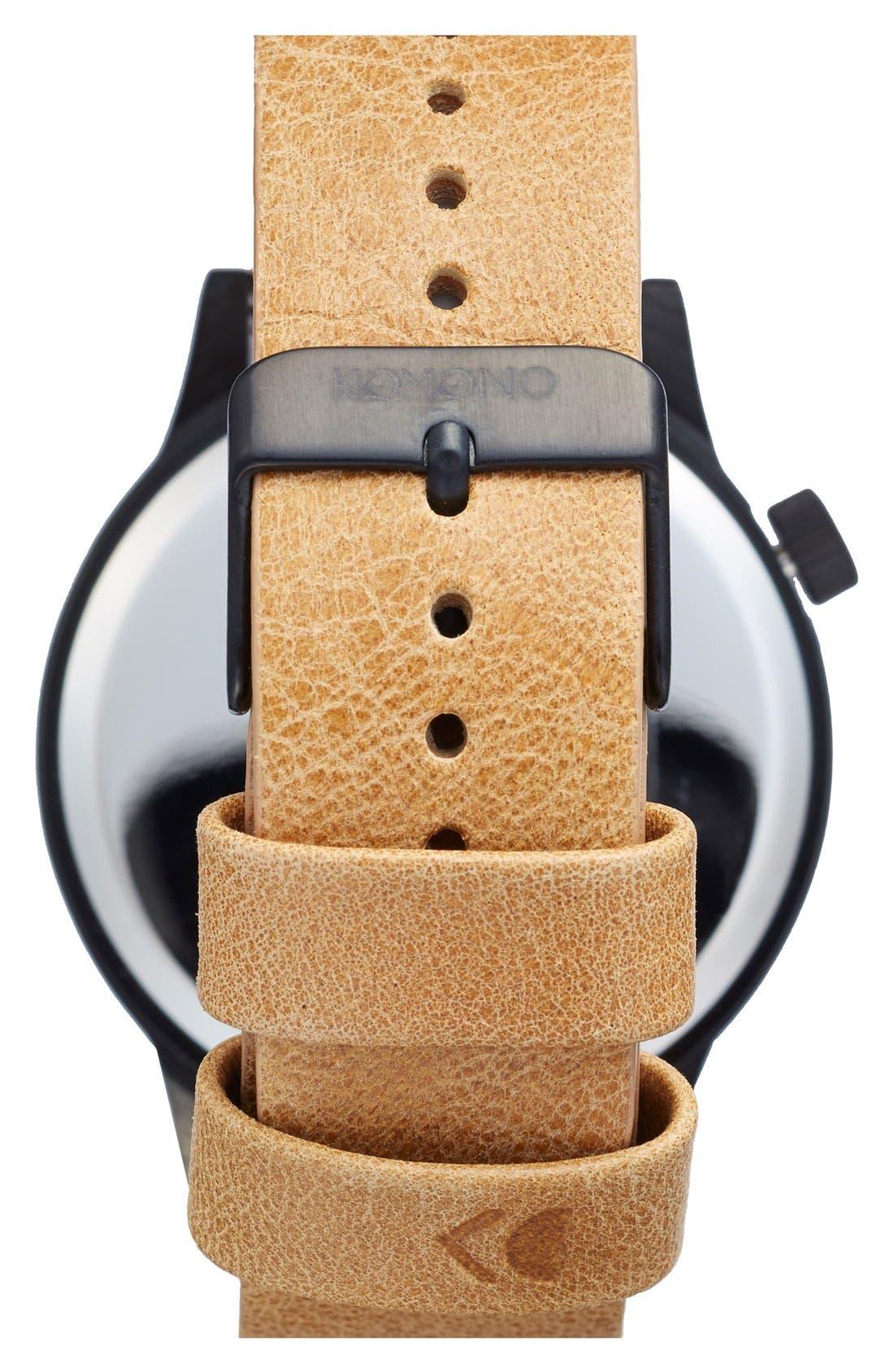 KOMONO, 'Winston Regal' Leather Strap Watch, 42mm, Alternate thumbnail 2, color, 230