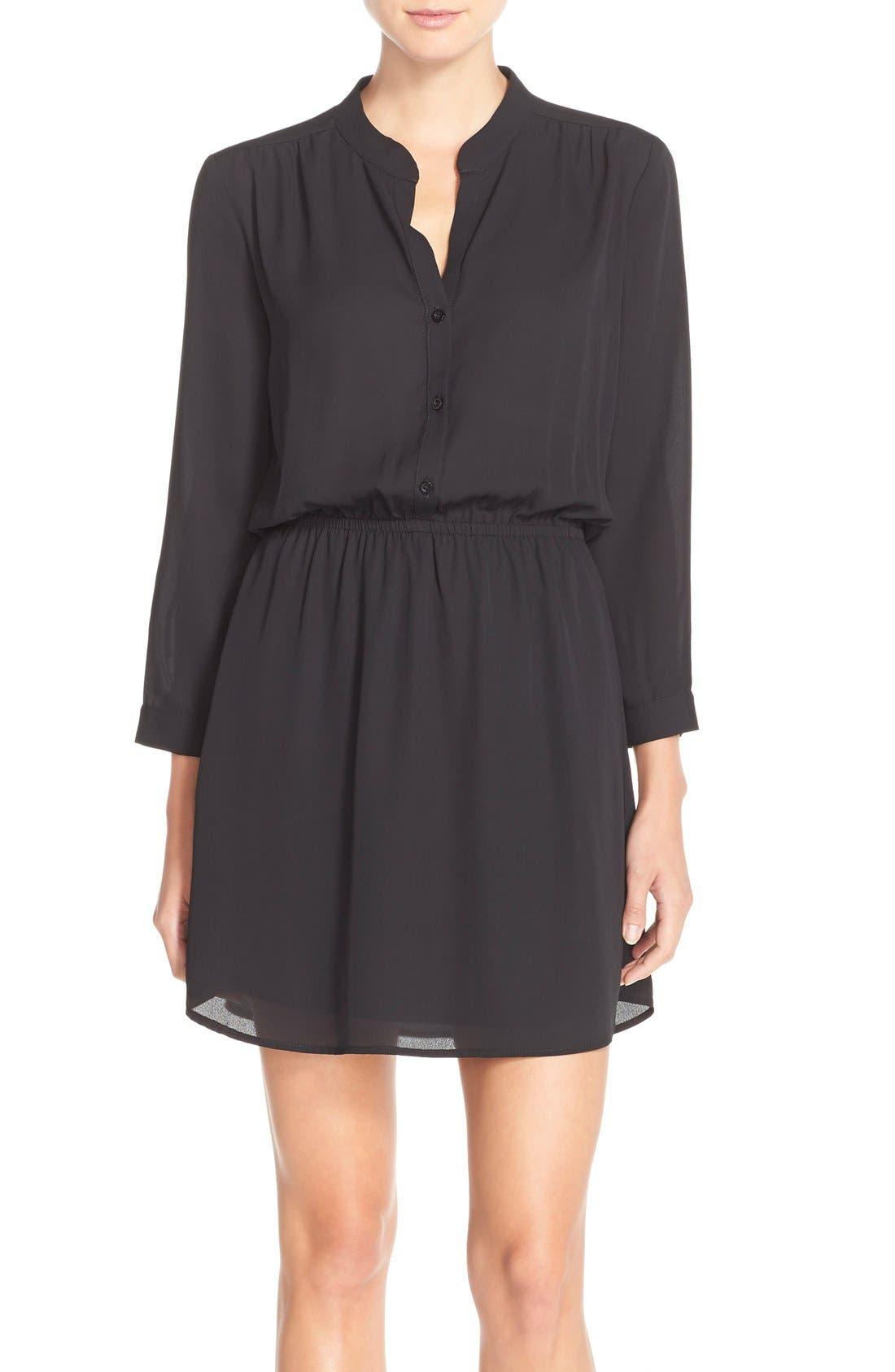 CHARLES HENRY Crepe Shirtdress, Main, color, 001