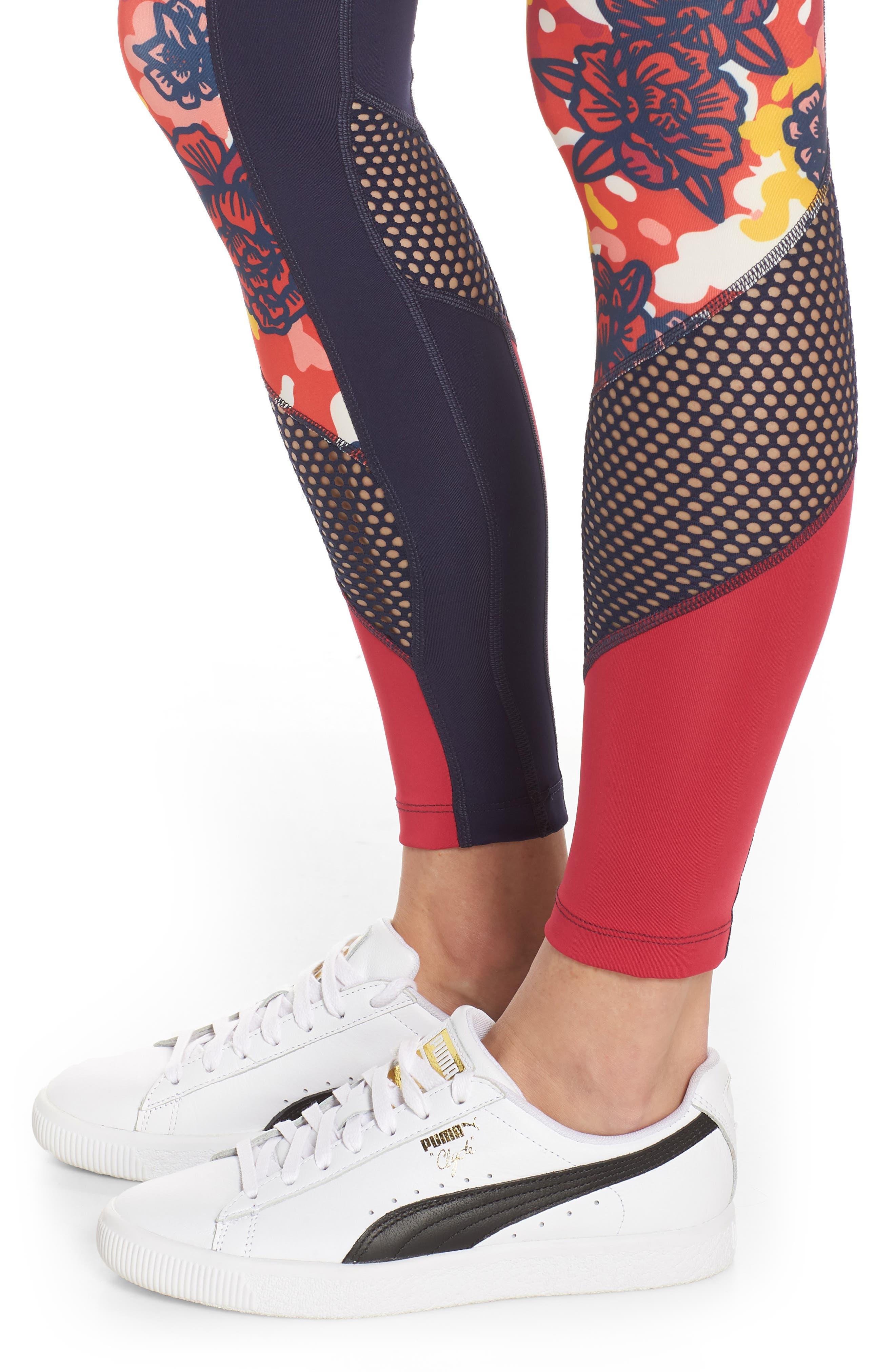 PUMA, Flourish Flourish XTG Leggings, Alternate thumbnail 5, color, PEACOAT-HIBISCUS MULTI