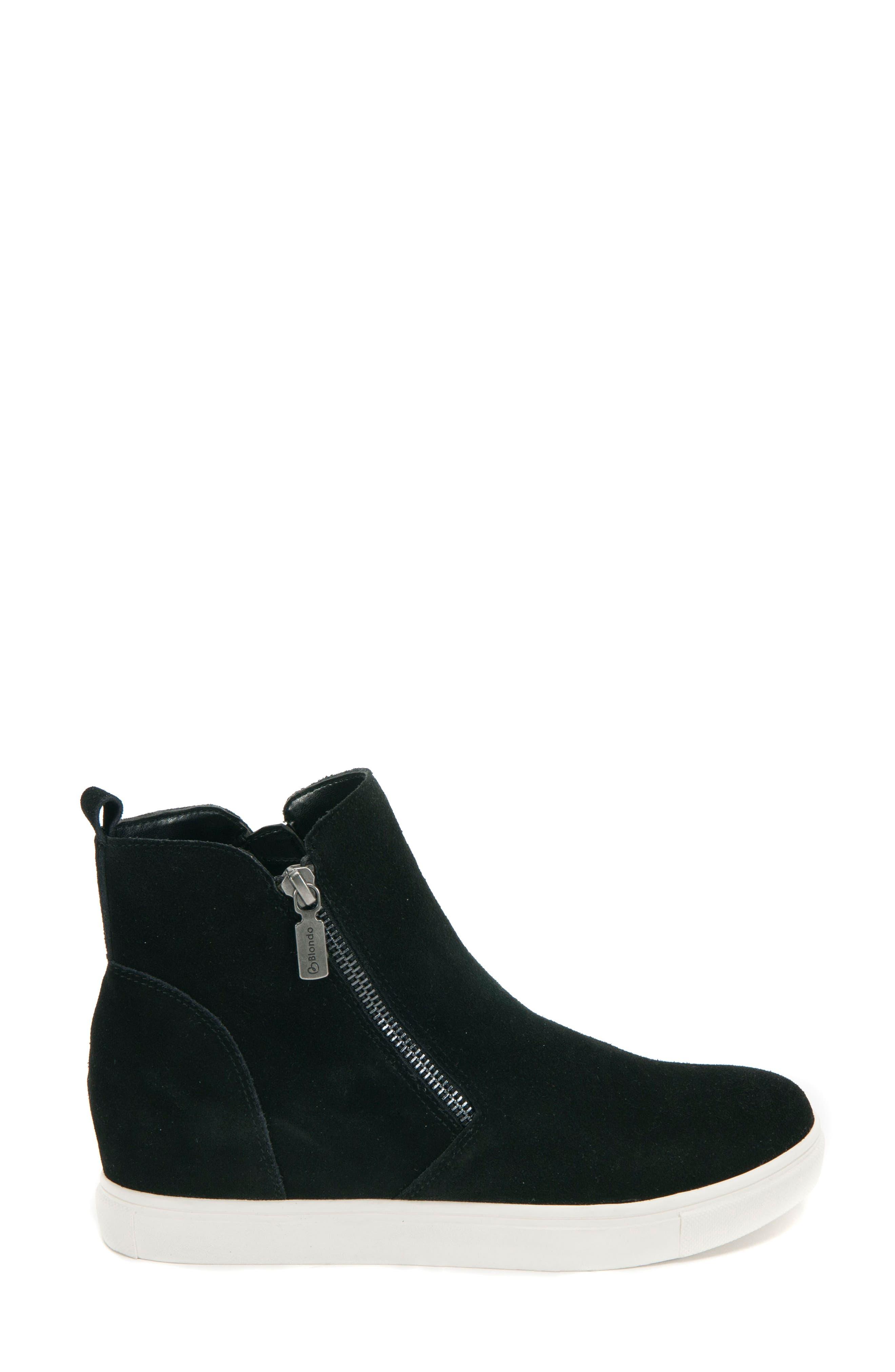 BLONDO, Giselle Waterproof Sneaker, Alternate thumbnail 3, color, BLACK SUEDE