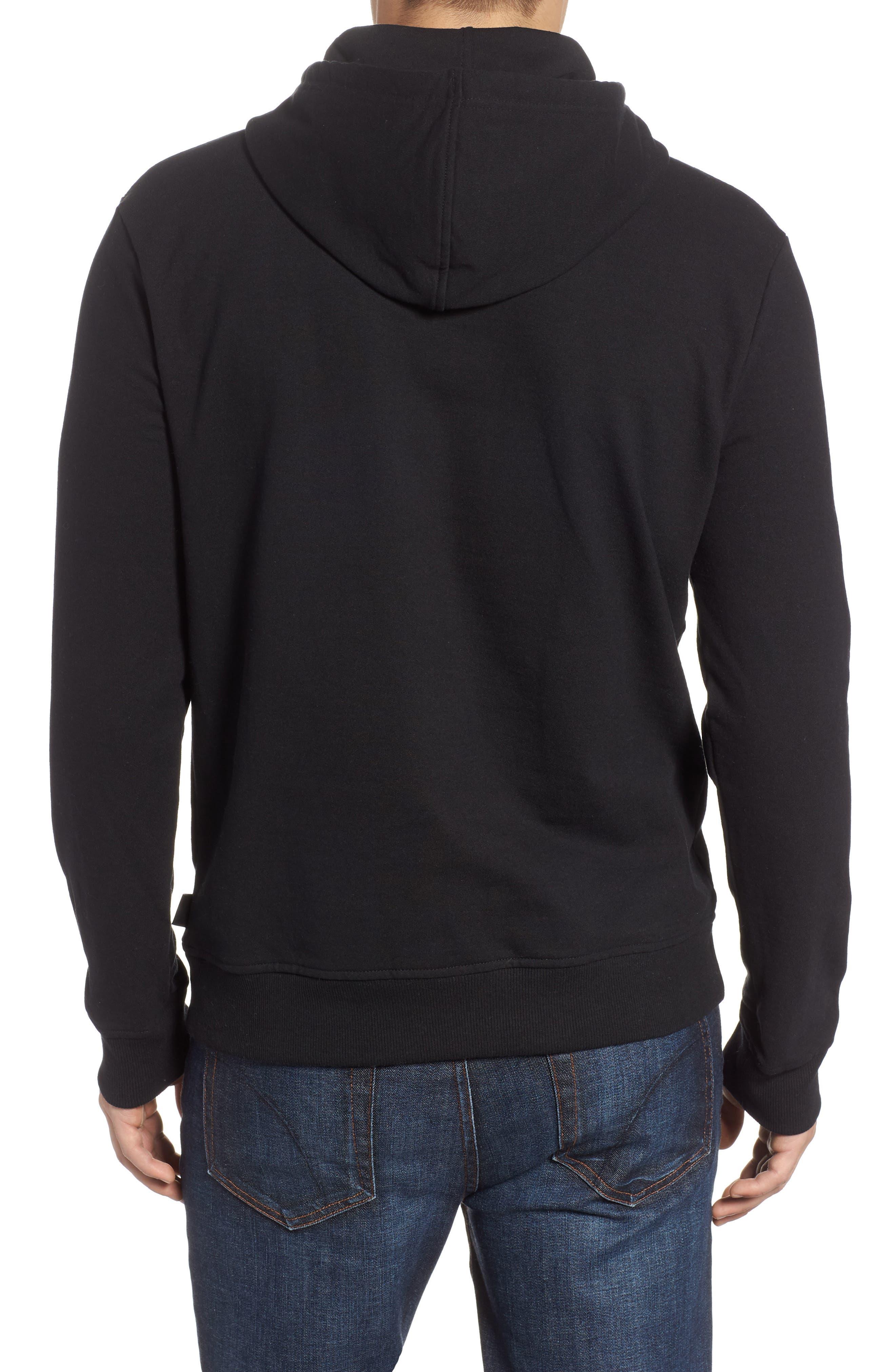 PATAGONIA, P6 Logo Uprisal Hooded Sweatshirt, Alternate thumbnail 2, color, BLACK