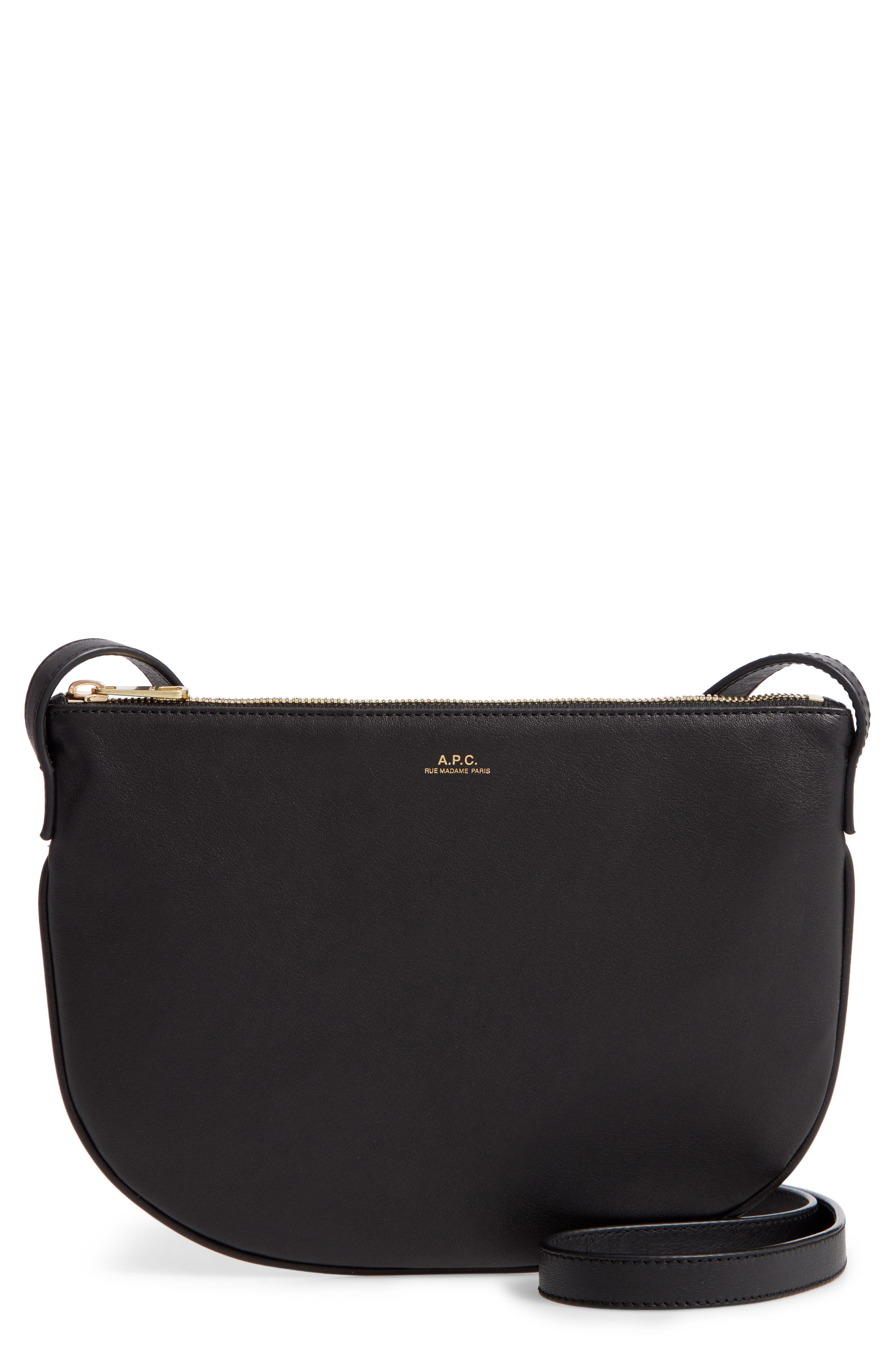 A.P.C., Sac Maelys Leather Crossbody Bag, Main thumbnail 1, color, LZZ NOIR