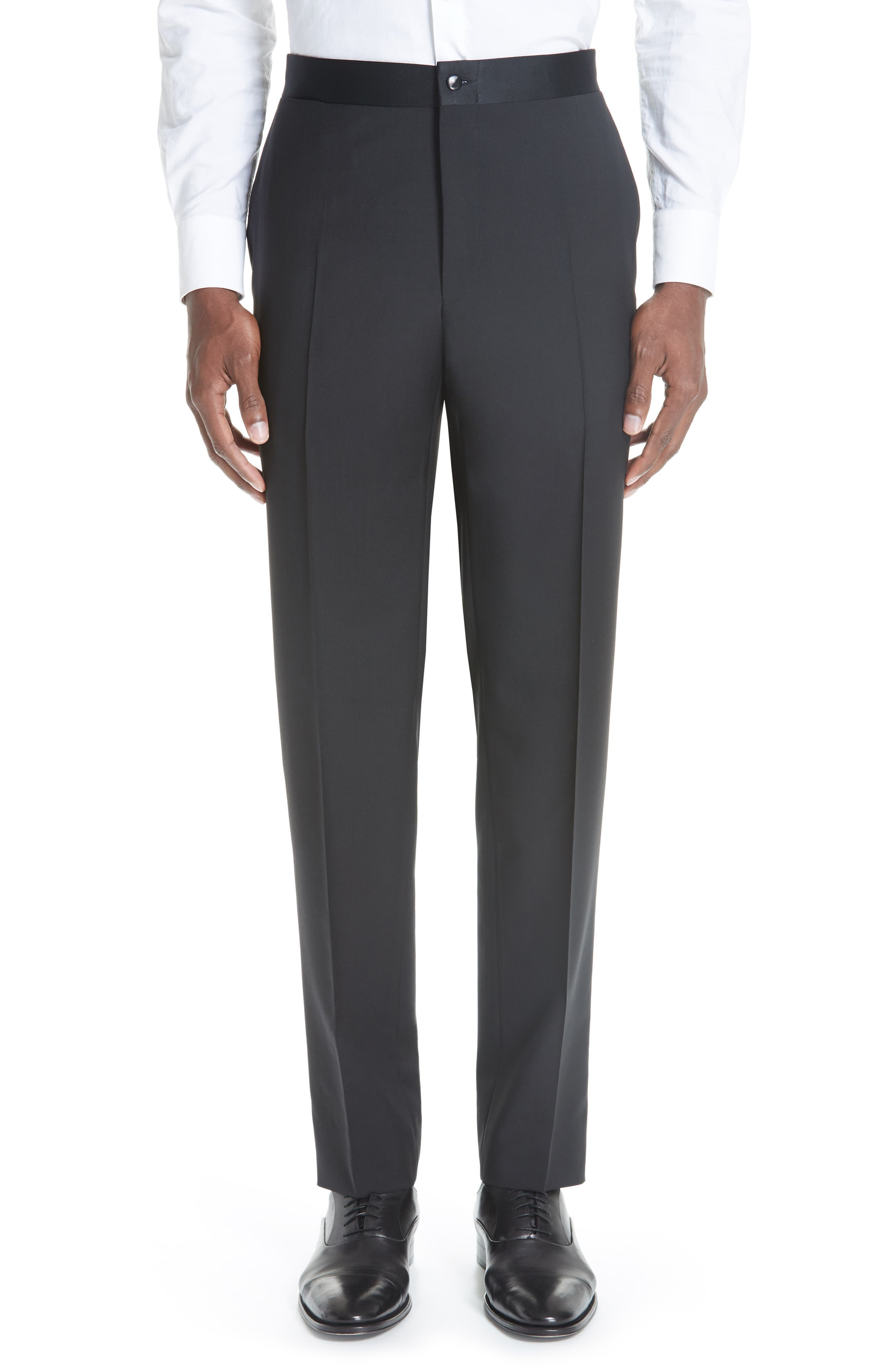 CANALI, 13000 Classic Fit Wool & Mohair Tuxedo, Alternate thumbnail 8, color, BLACK