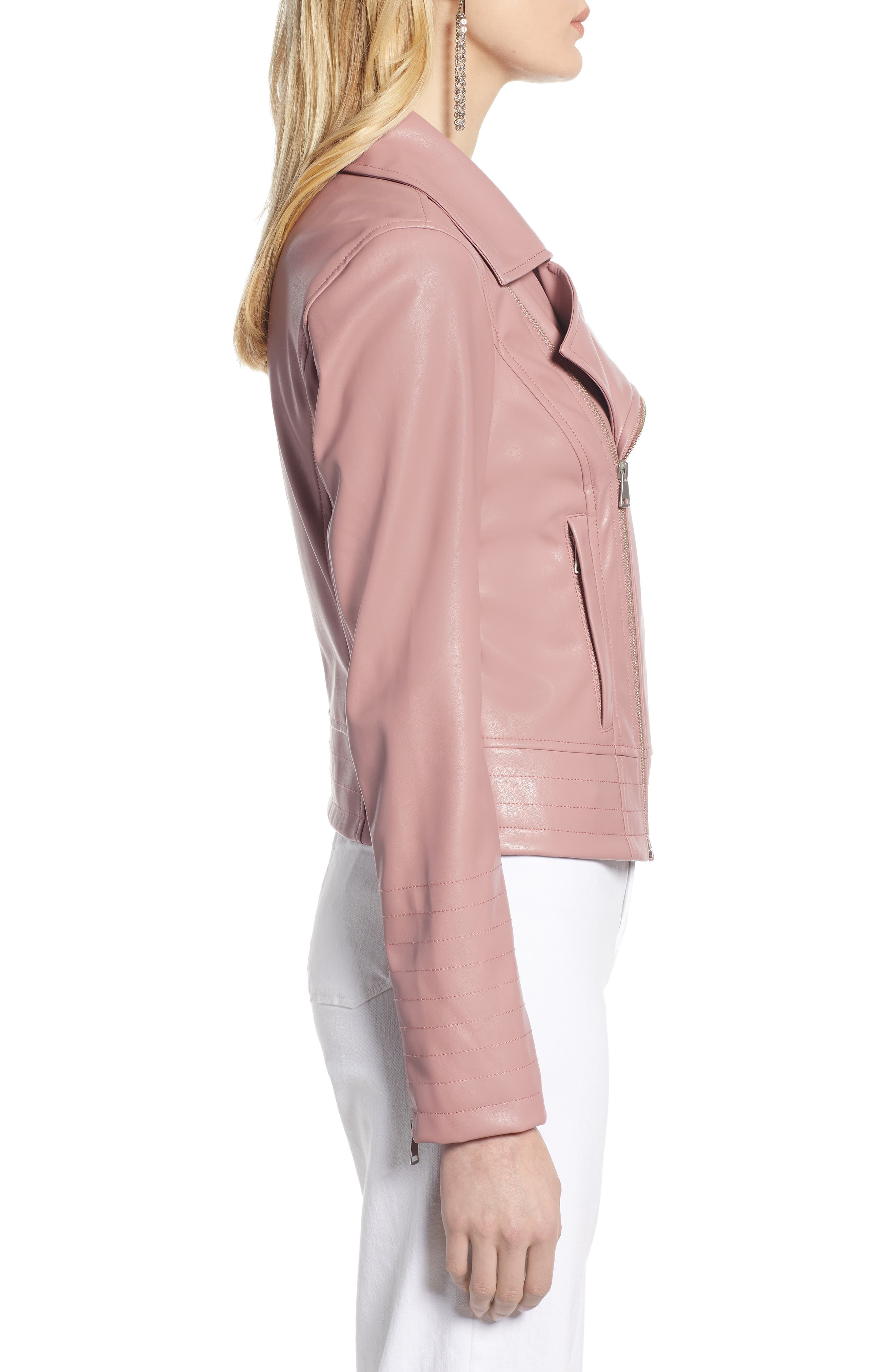 HALOGEN<SUP>®</SUP>, Quilted Faux Leather Moto Jacket, Alternate thumbnail 4, color, ROUGE