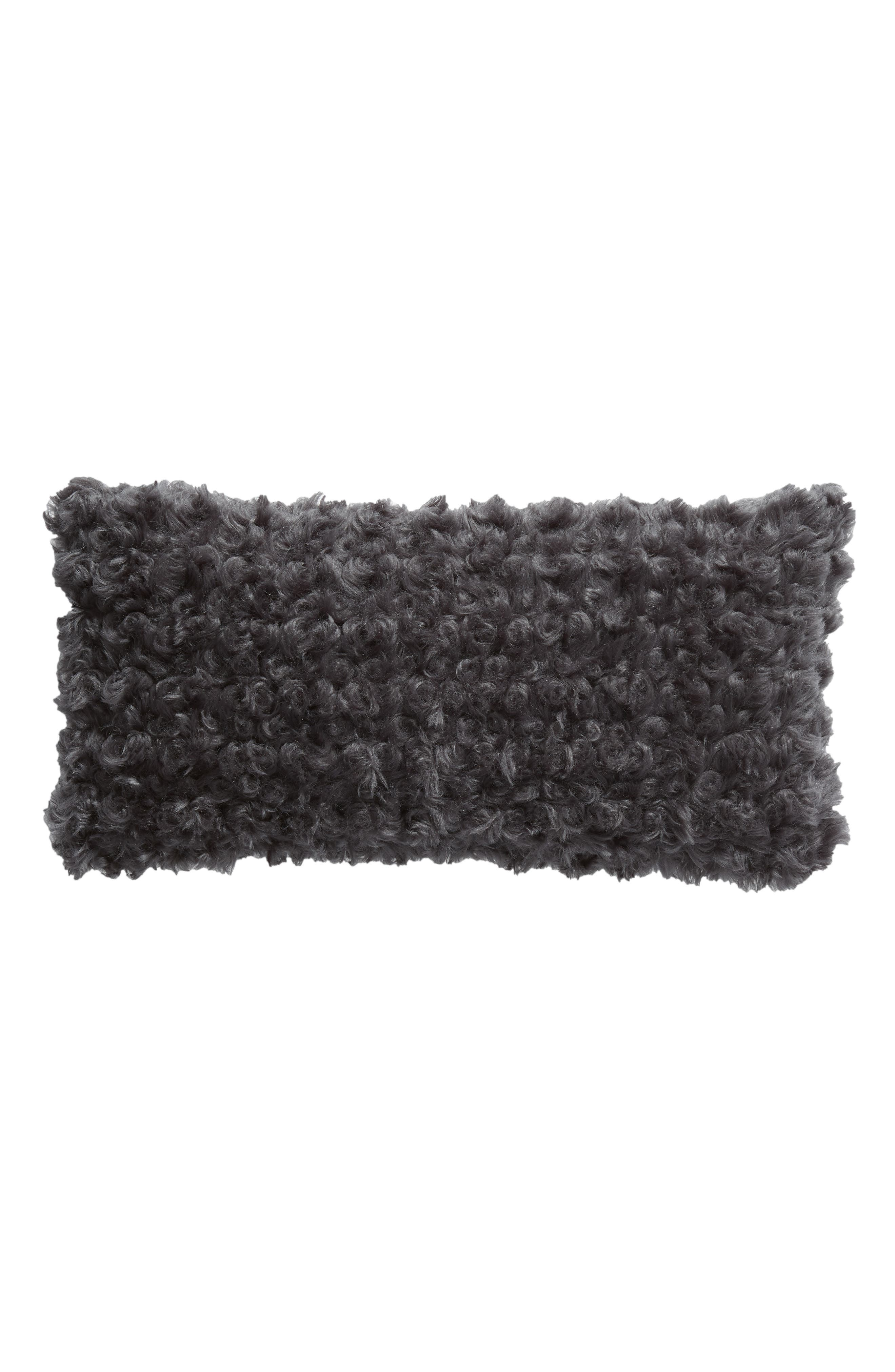 TREASURE & BOND Faux Fur Accent Pillow, Main, color, GREY ONYX