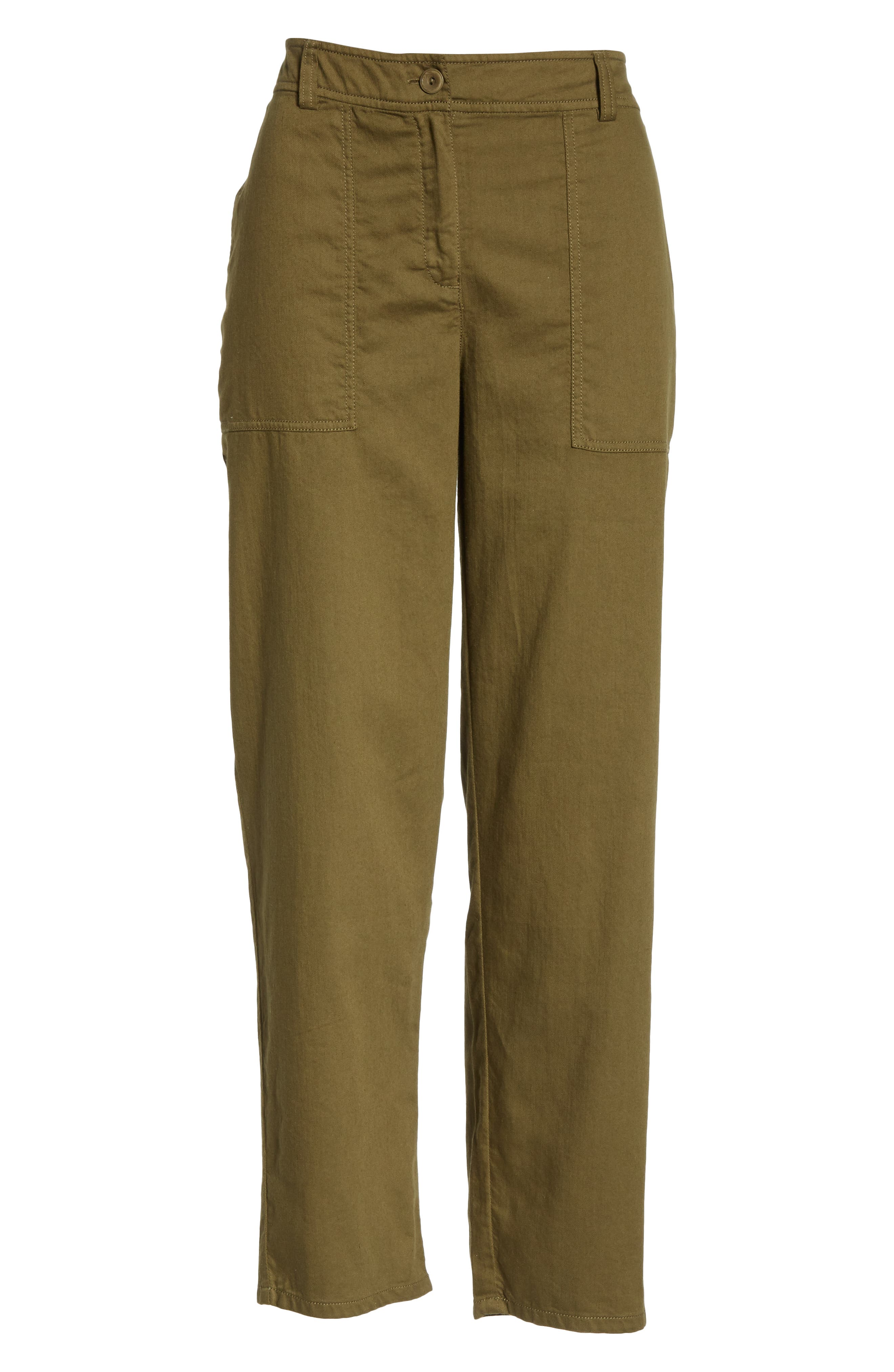 EILEEN FISHER, Slouchy Ankle Pants, Alternate thumbnail 7, color, OLIVE