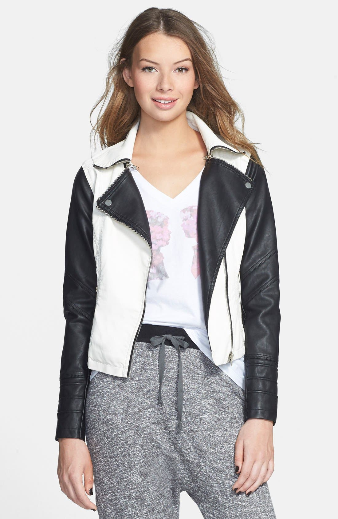 BOY MEETS GIRL, Colorblock Faux Leather Jacket, Main thumbnail 1, color, 100
