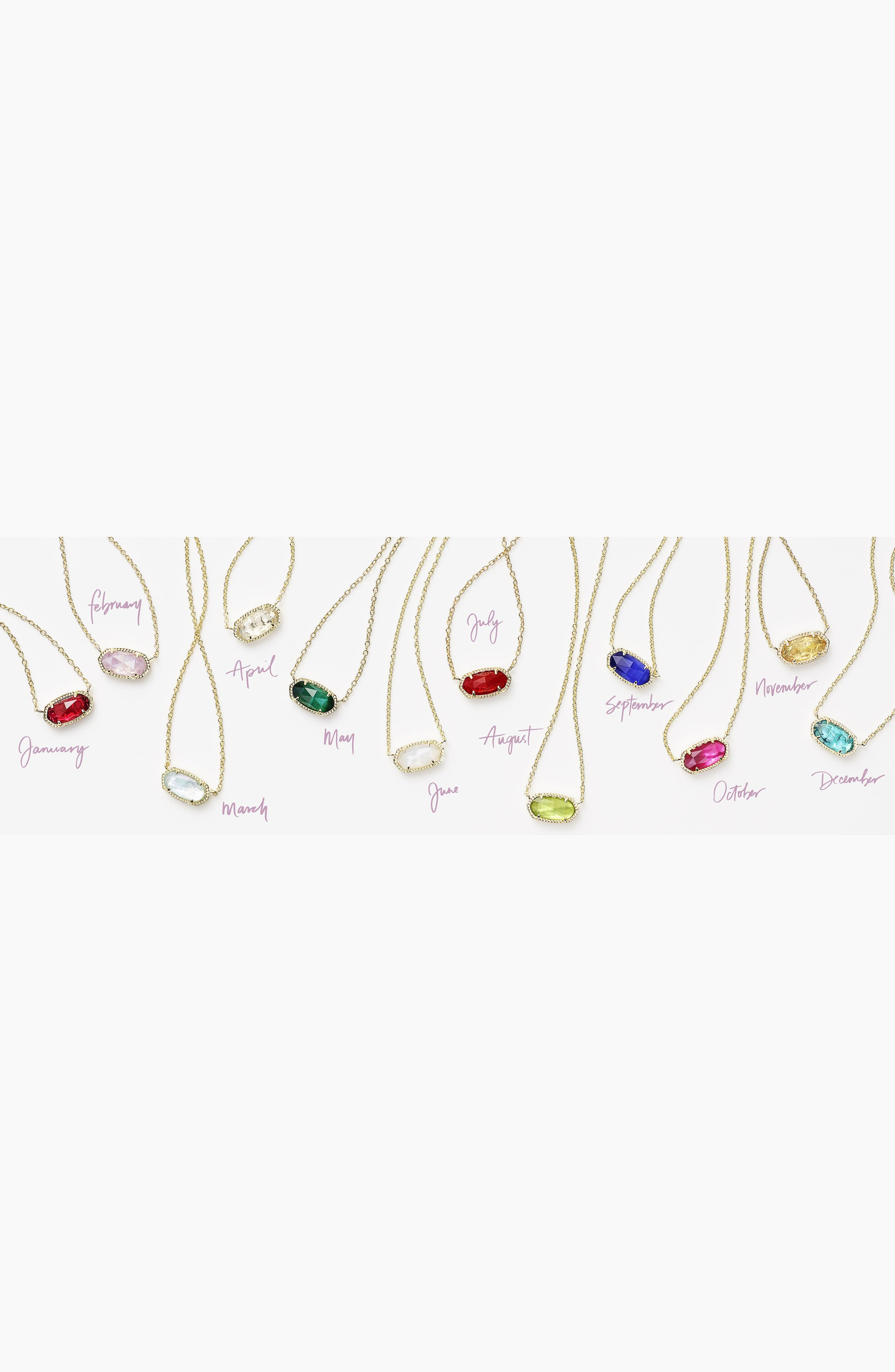 KENDRA SCOTT, Elisa Birthstone Pendant Necklace, Alternate thumbnail 3, color, JANUARY/BERRY/GOLD