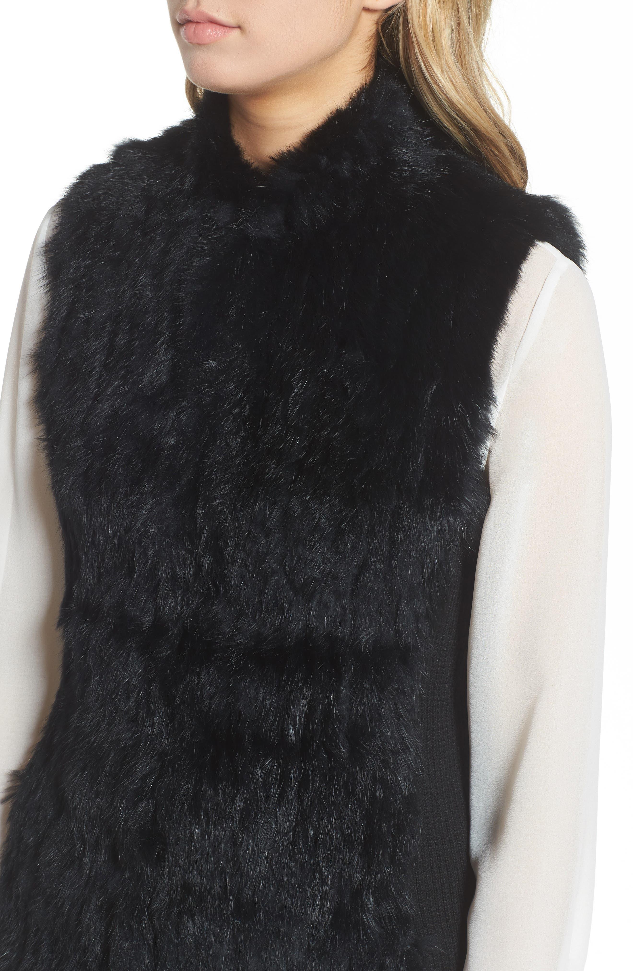 LOVE TOKEN, Genuine Rabbit Fur & Knit Vest, Alternate thumbnail 4, color, 001