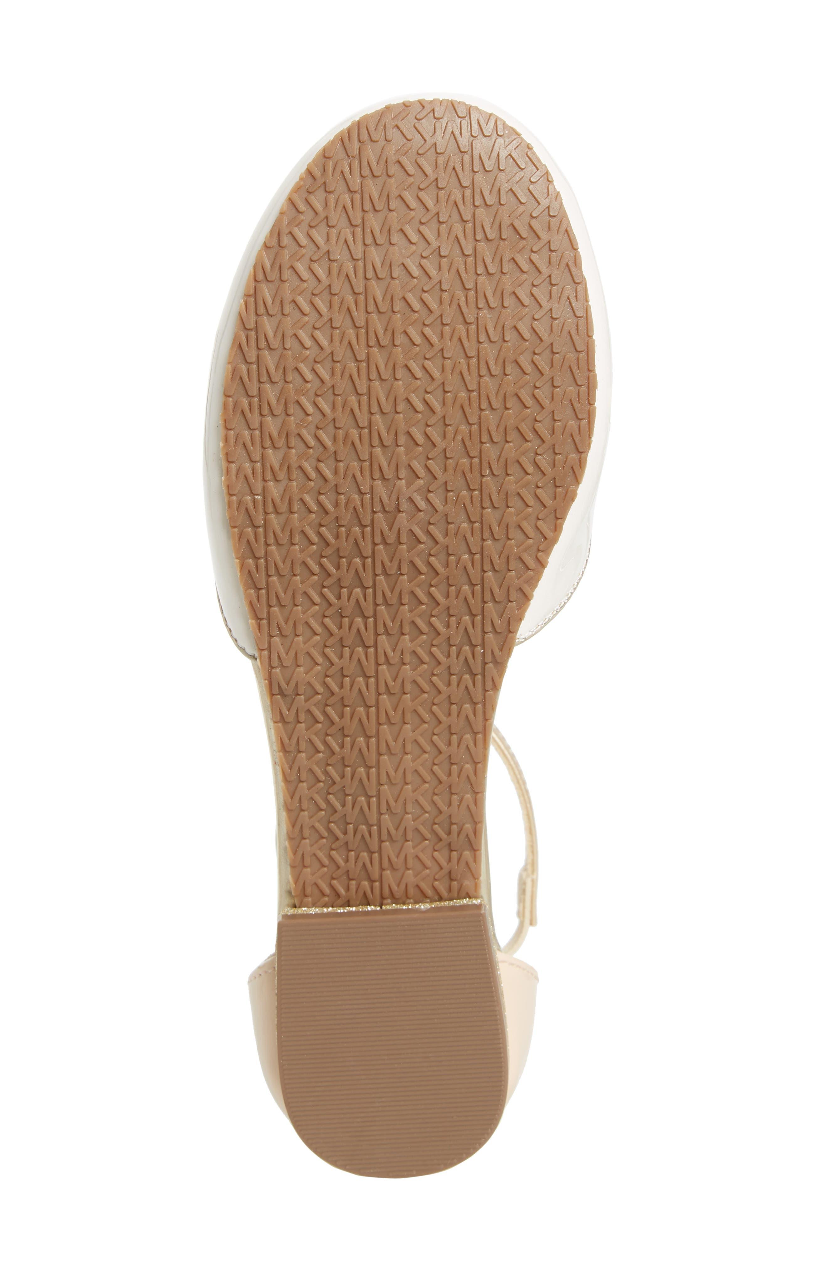 MICHAEL MICHAEL KORS, Kitten Kaisa Glitter Heel Sandal, Alternate thumbnail 6, color, GOLD MULTI