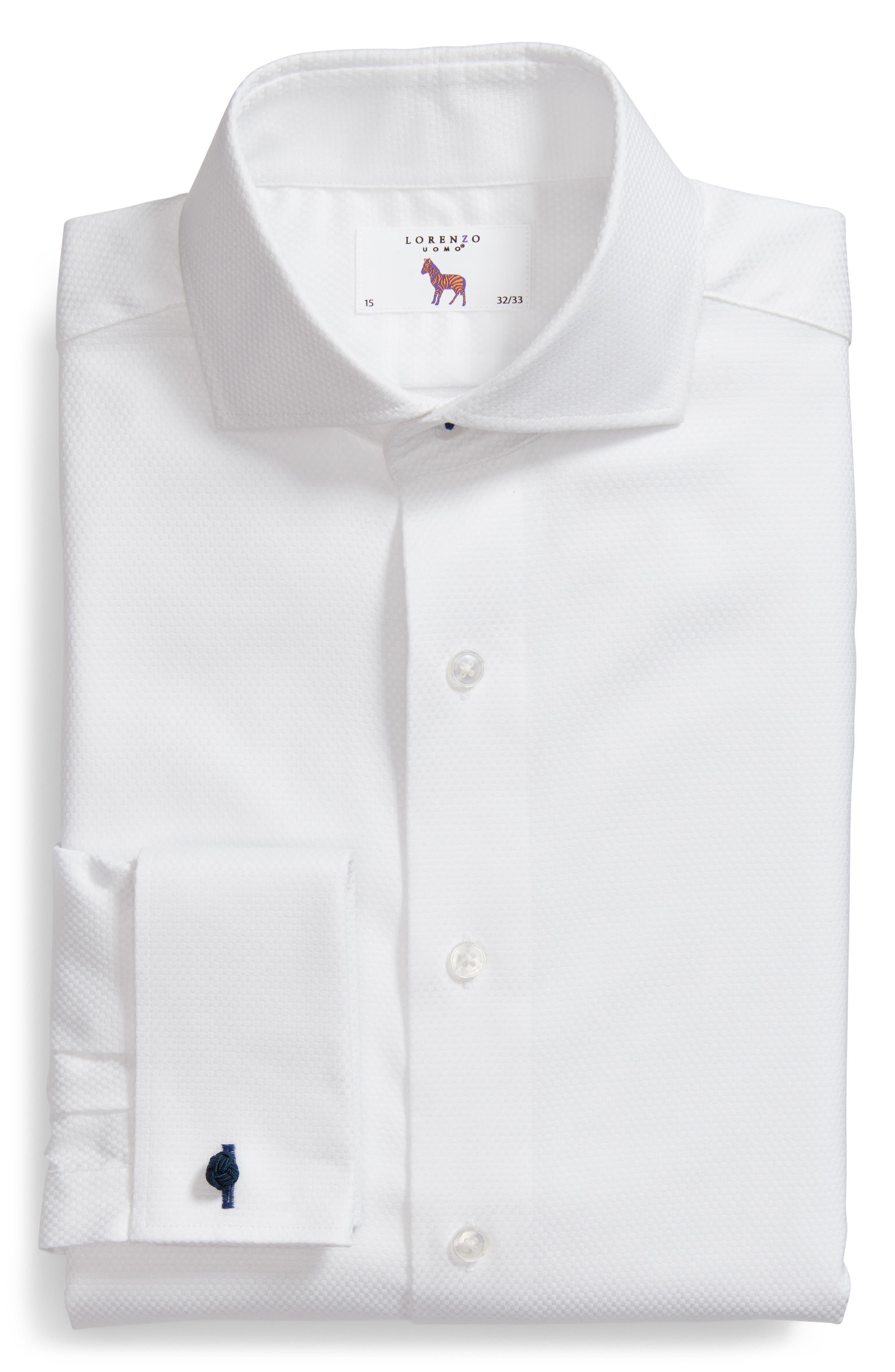 LORENZO UOMO, Trim Fit Basket Weave Dress Shirt, Alternate thumbnail 5, color, WHITE